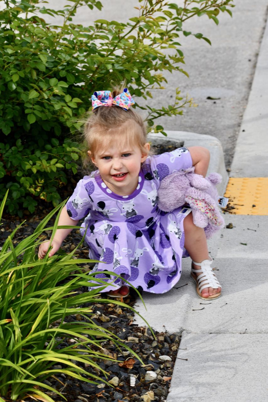 Berkeley needed an outfit to match her beloved purple bunny —  PLA3  had the perfect dress (and coordinating shorts).