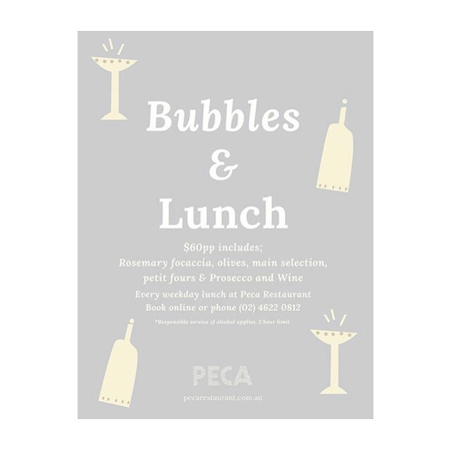Lunch is better with Bubbles •Bubbles and Lunch $60pp •  Every Weekday Lunch  . . BOOKINGS OR WALK-INS WELCOME #pecarestaurant #gregoryhills #adriatic #lunch #dining #prosecco #wine #petitfours #focaccia #bubbleswithlunch