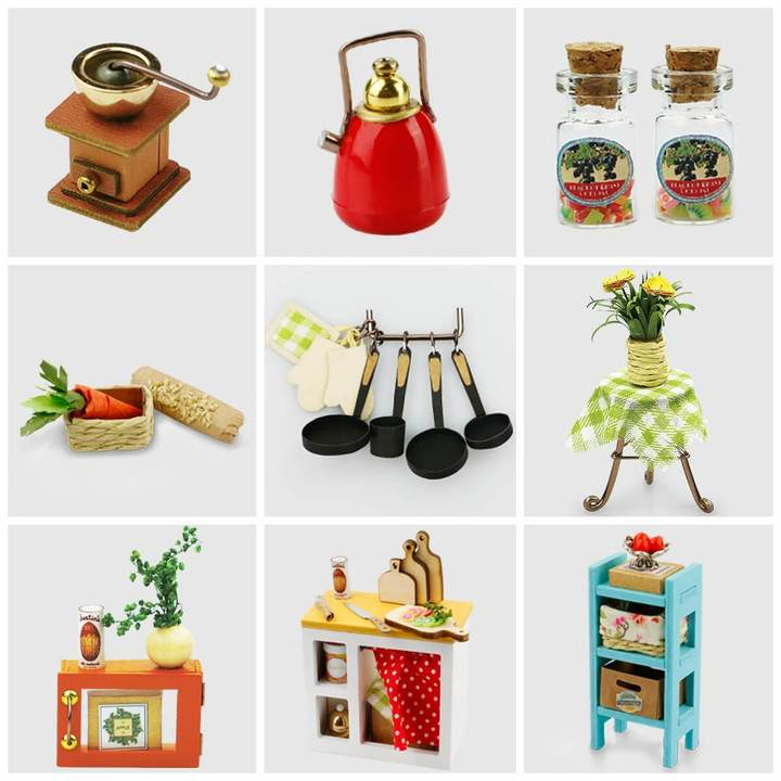 Miniature items included in the houses are like the items pictured above. All furniture has to be assembled.