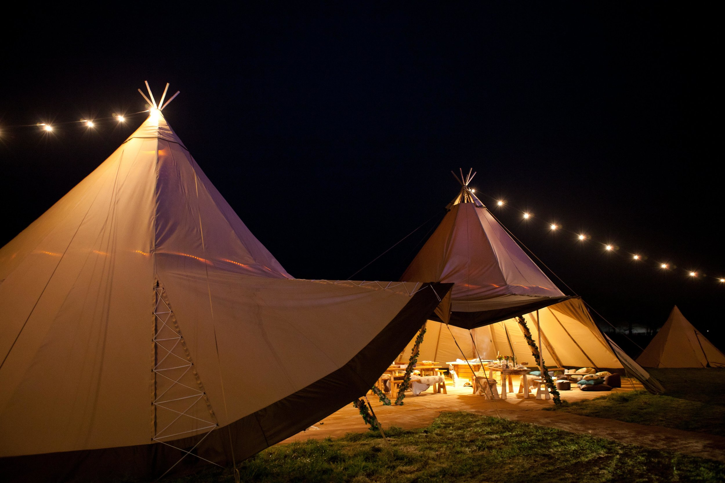 - Full Tipi set ups coming 2020Each tipi seating up to 80 people and can be joined to create larger areas.