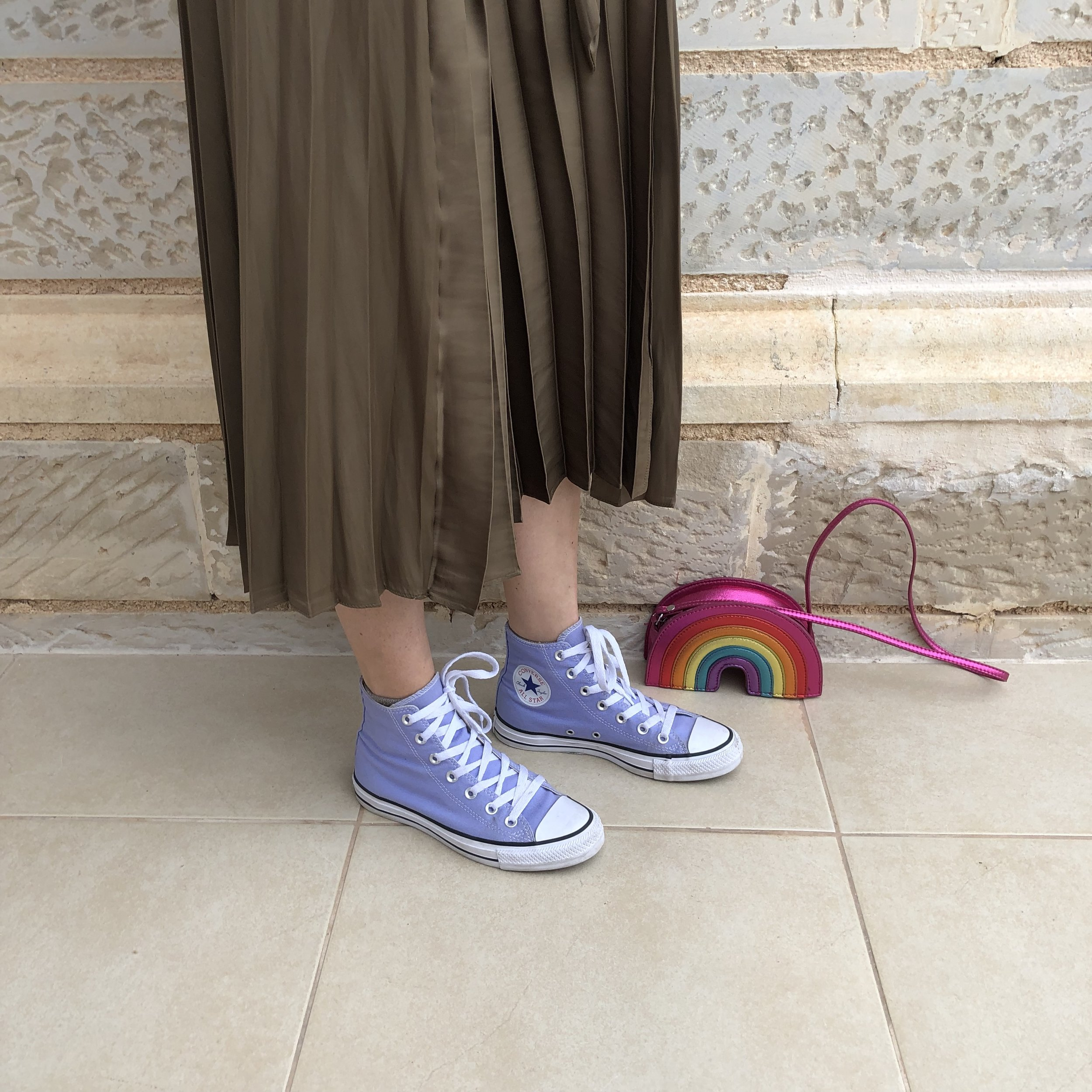 My lilac Converse bought in the sale last year at Office were such a great buy I wear them loads. I also loved borrowing my 3 year old's rainbow bag!!! Like I say love a statement bag.