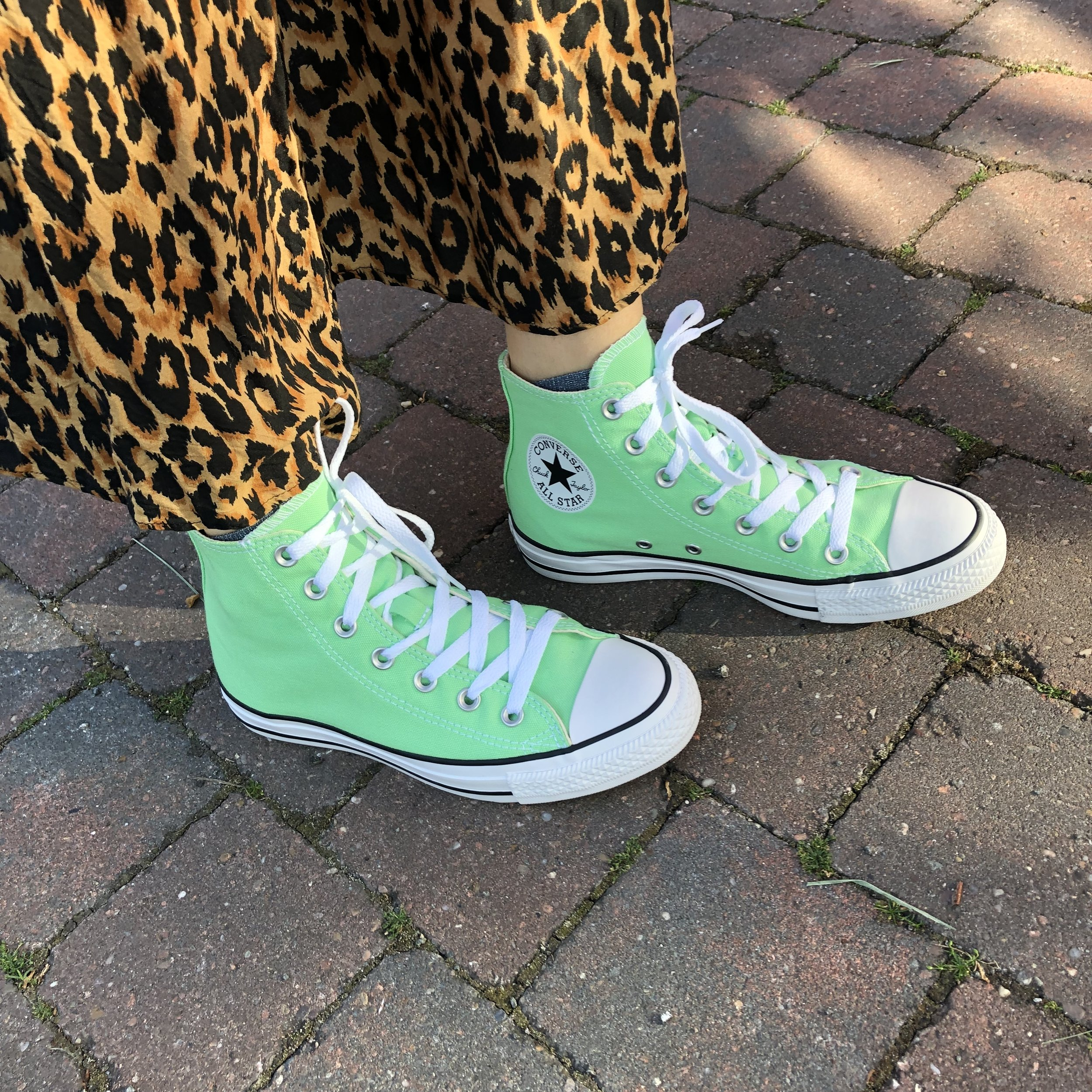 I bought these bright green Converse High Tops on ASOS and LOVE them so much. They work  with so many outfits.
