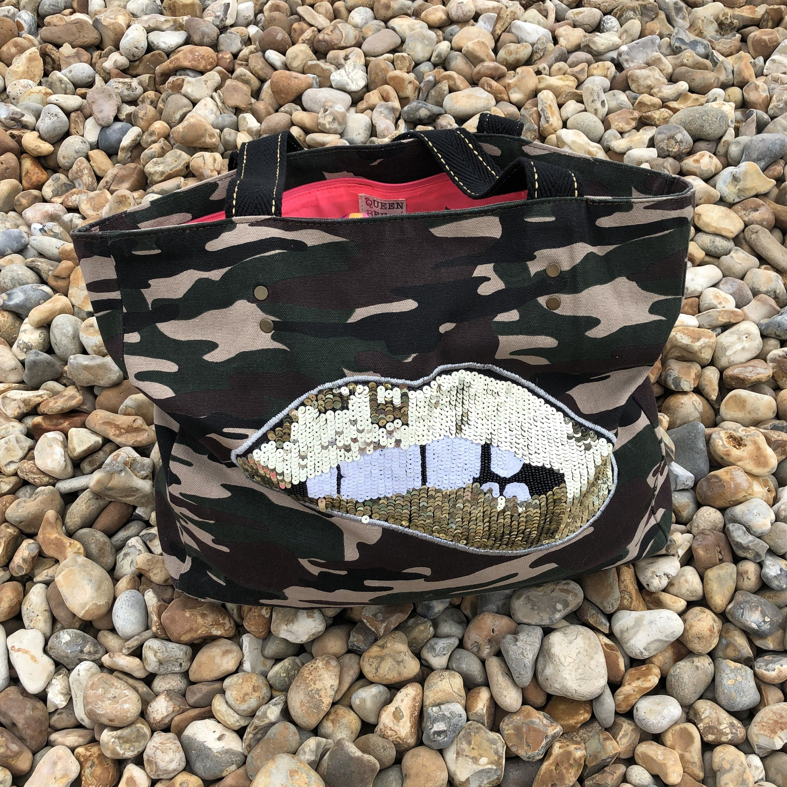 This Queen Bee Collective canvas tote bag in camo is a great shape and size I used it everyday on our recent holiday to Devon.