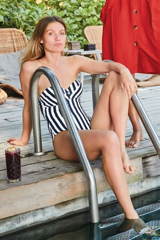 I also loved this Next  navy and white textured stripe bandeau  swimsuit this is so flattering on and really holds you in.