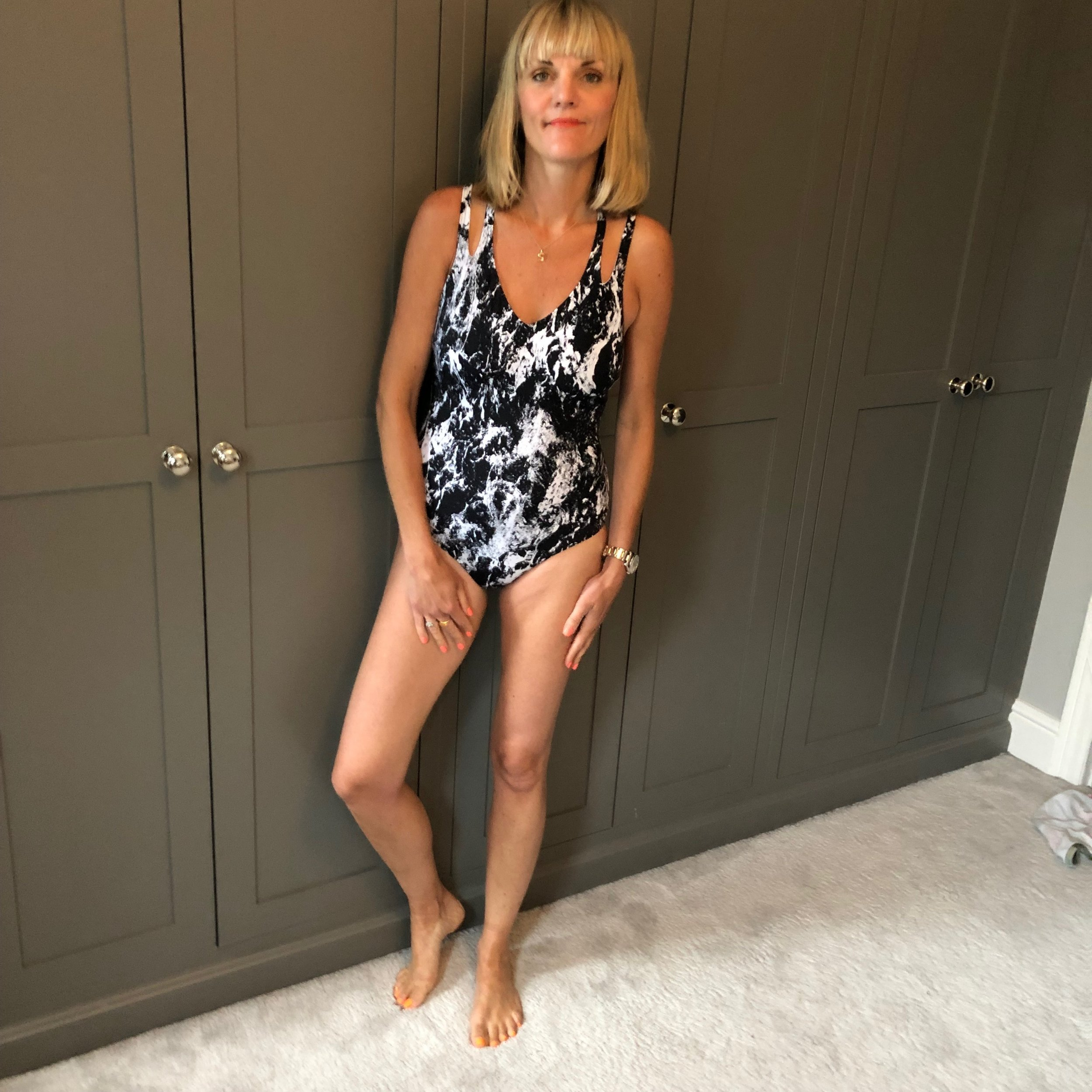 My top pics from the Speedo brand Sculpture range ( does what it says on the tin holds you in), was this black and white  print suit at £58  feels lovely on. It actually does hold you in.