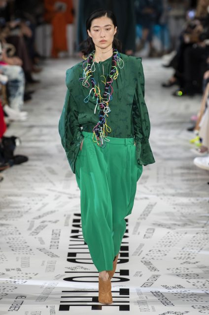 I am so happy there is lots of green around too. I have lots of green items I will be wearing again and again. I love this Stella McCartney look. Especially with the brown boots.