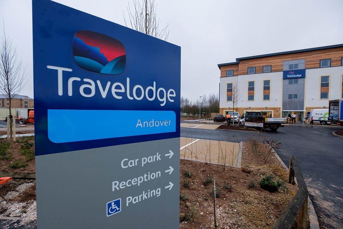 Travelodge hotel Andover exterior with directional signage