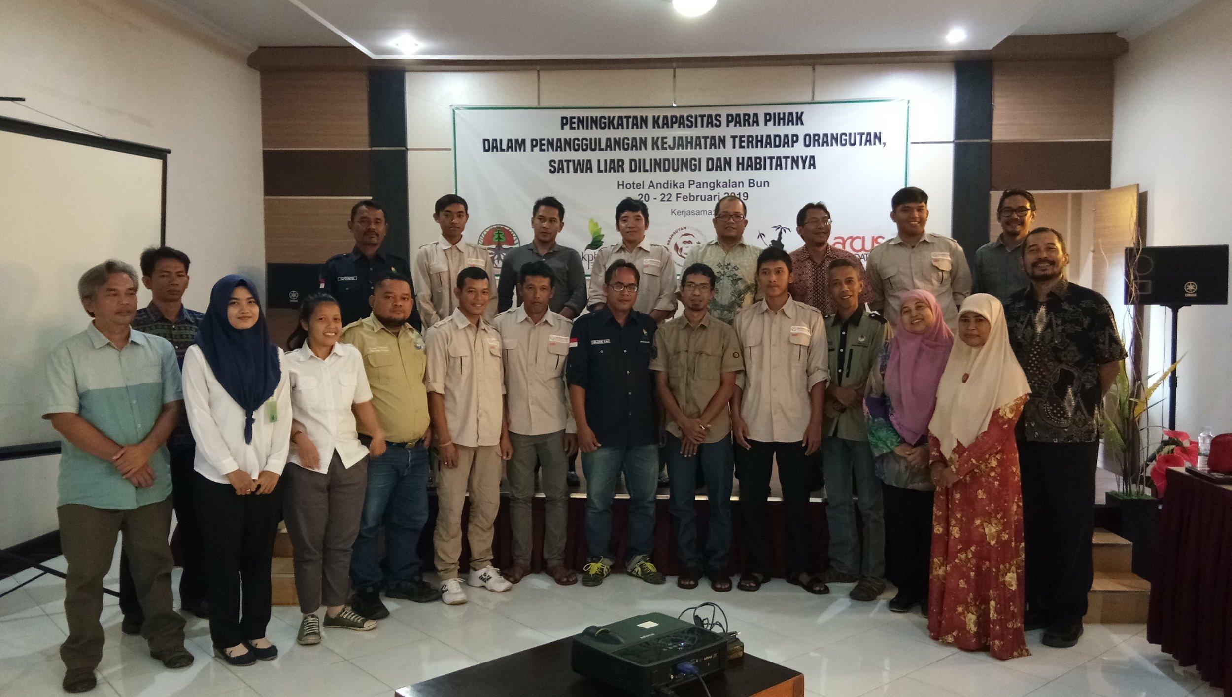 Workshop attendees included Yayorin, Orangutan Foundation, SKW II Balai KSDA Kalimantan Tengah, Tanjung Puting National Park Office, Sukamara-Lamandau Regional Forest Service Office (KPHP) , Seruyan Regional Forestry Service Office (KPHP), Nangamatu Village - Belantikan Raya and Pangkalan Bun Antakusuma University.
