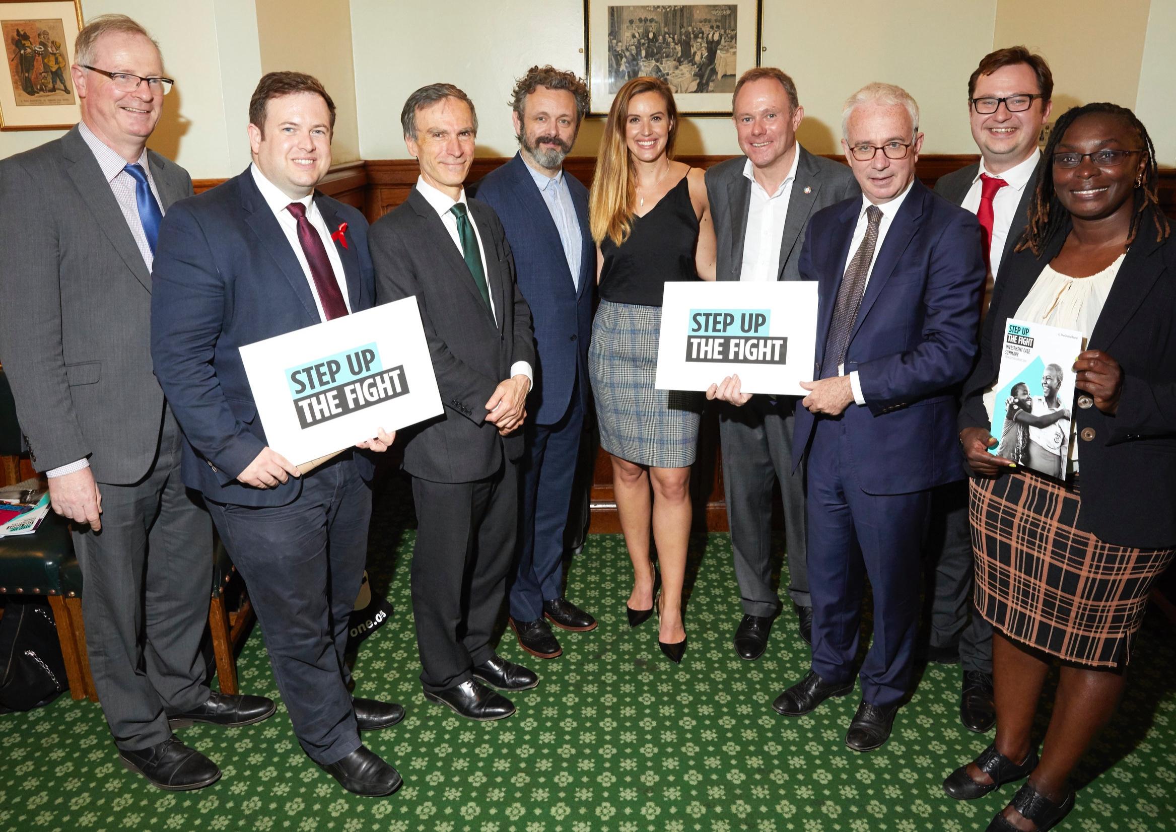 Left to right: Jeremy Lefroy MP, Stephen Doughty MP, Minister for International Development Andrew Murrison MP, Michael Sheen, Charlie Webster, Rt Hon Nick Herbert MP, Peter Sands, Dan Norris MP, Maurine Murenga