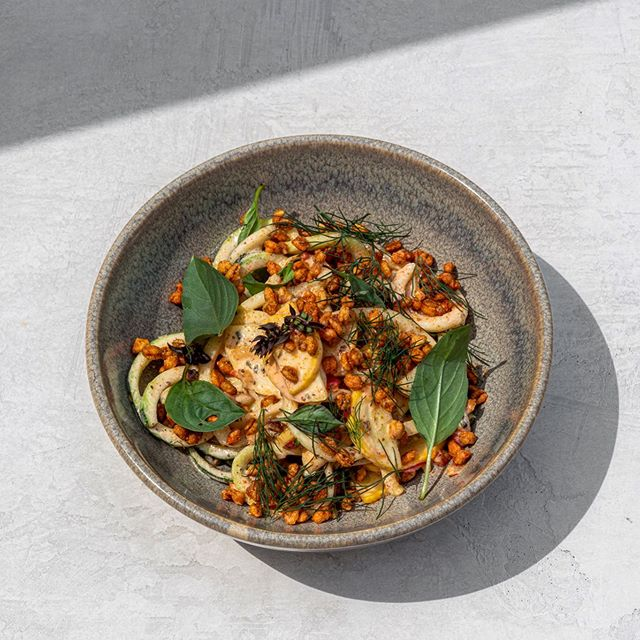 Zucchini and summer squash are in full swing! So we're tossing them in @fluffybottomfarm yogurt, smoked paprika, pickled raisin-chile relish and a whole bunch of herbs from our friends @coriander_det. Topped with puffed local farro, this crispy crunch saucy salad is the light bite you need on days when the sun won't quit. Available until zucchini's get to be the size of houses (and become better suited for cake). #popartpictures #neighborrestaurant and #littlelocalbutchershop #lovessalad