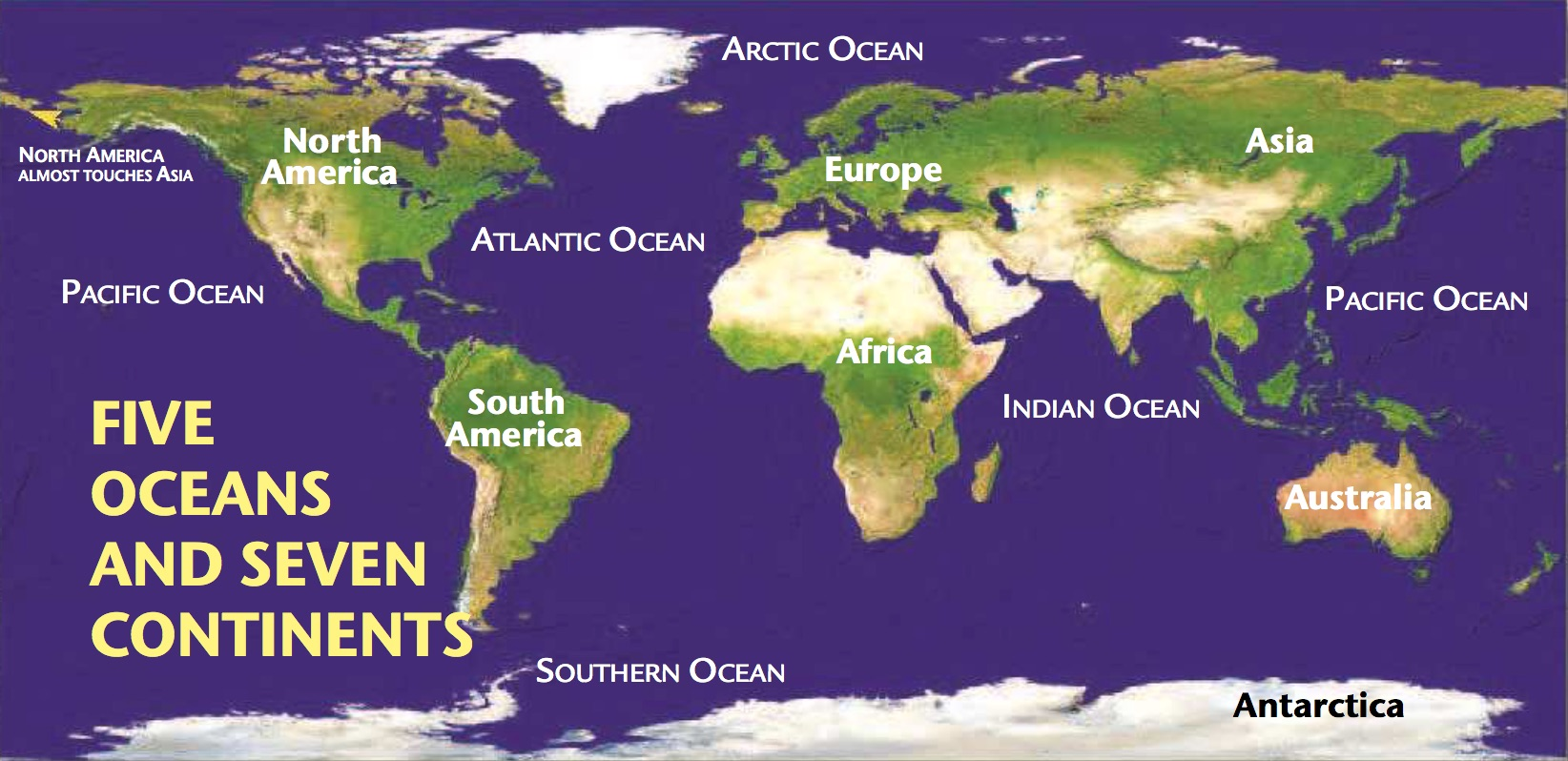 Draw and label a map of the seven continents and five oceans in your journal. See  pages 10-11  in your text for more information.
