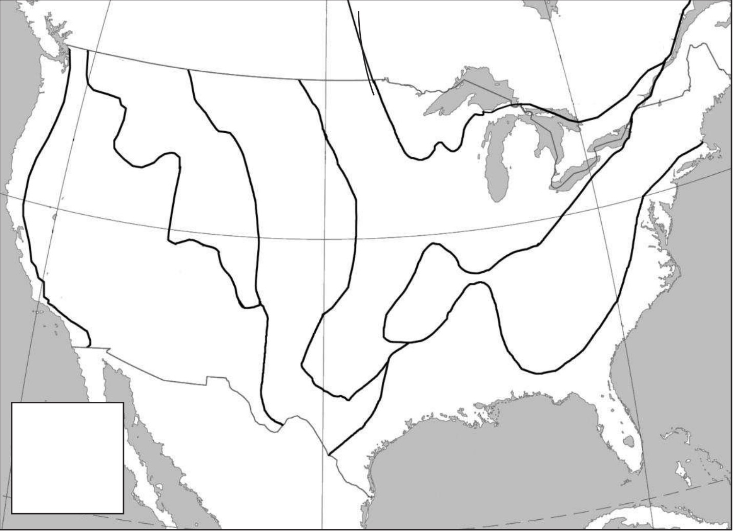 Identify the locations of the eight geographic regions of North America.