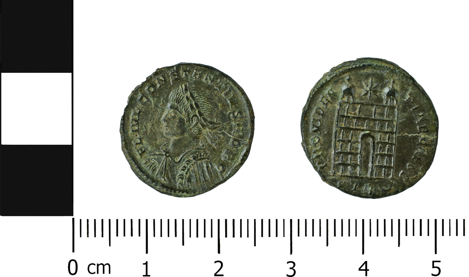 (MOL.208.75.270 Obverse: Constantinus II, Reverse: Camp Gate, Minted in Trier)