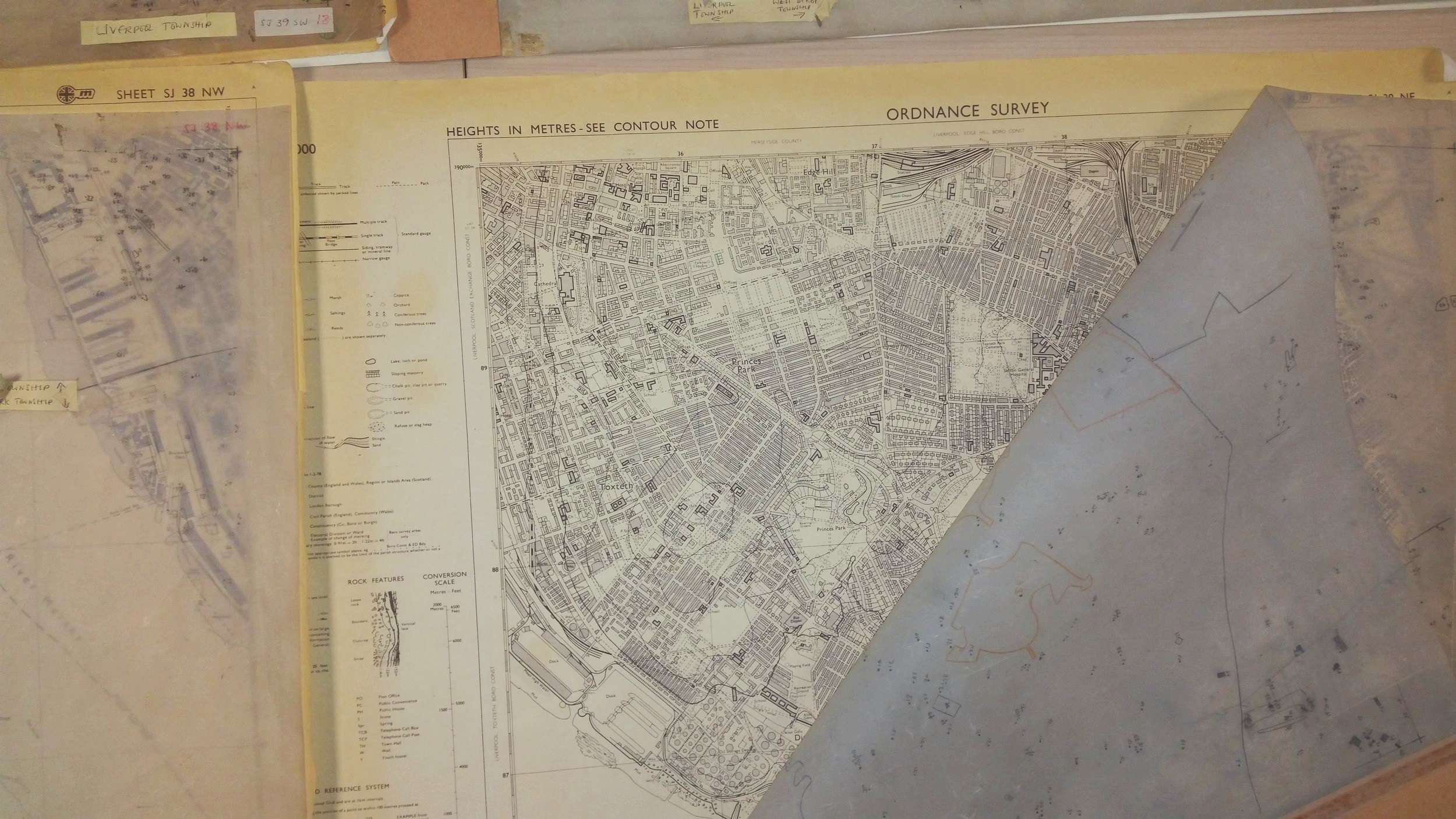 A2 Ordinance Survey Map of a section of Liverpool circa 1980's