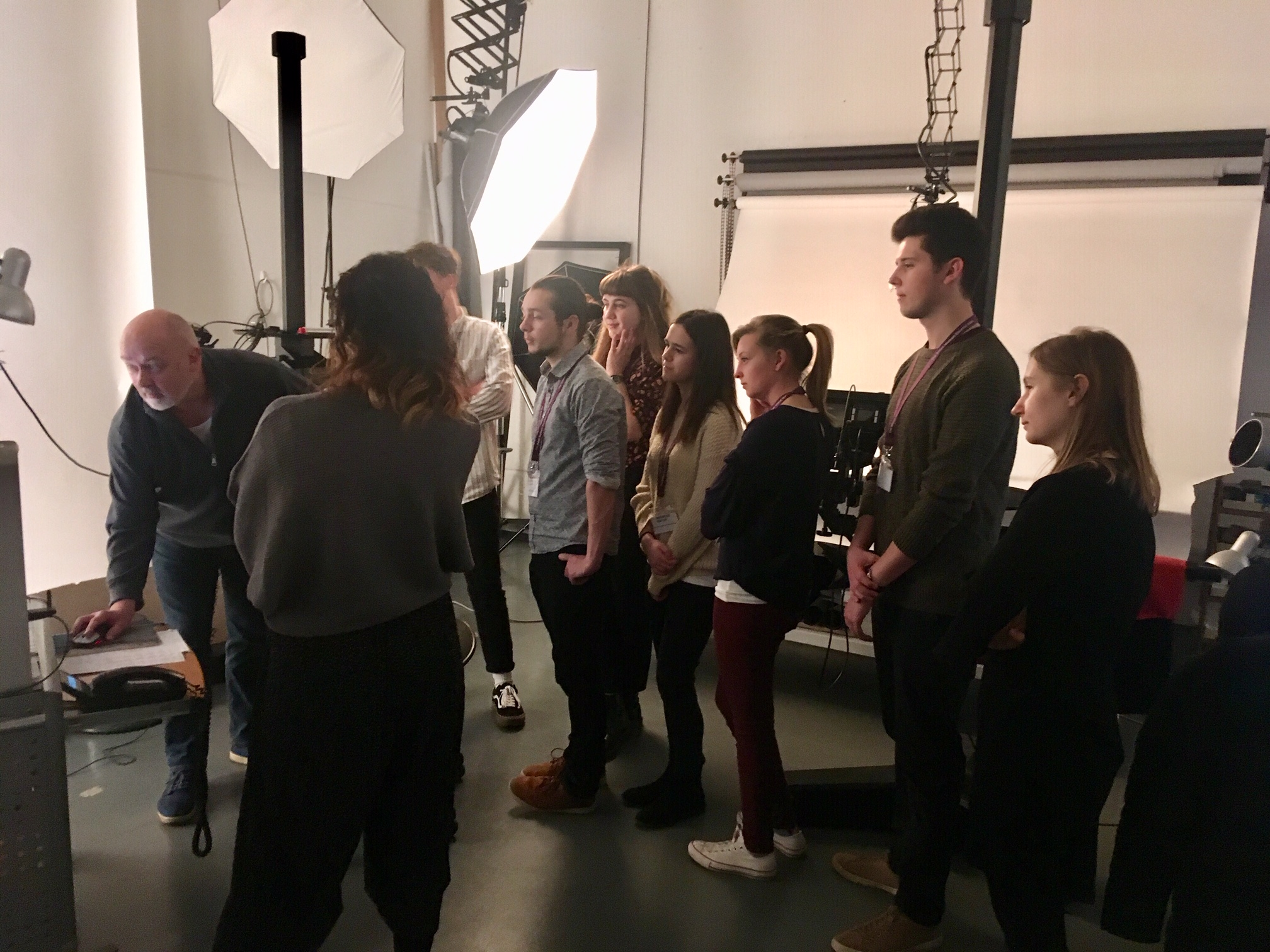 Chief Photographer John Williams (left) showing Musuem Futures trainees around the Sepulchral Photo Studio during their programme induction at the British Museum. photo by naomi sB