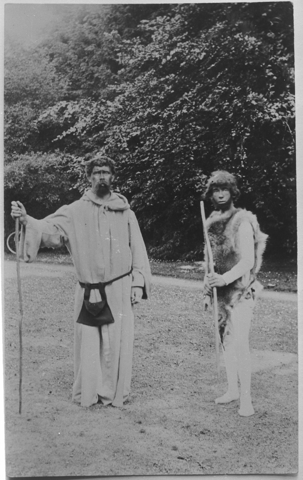 Photograph of character in role of Phoenician trader and a Monk in a scene from Butleigh Revel.
