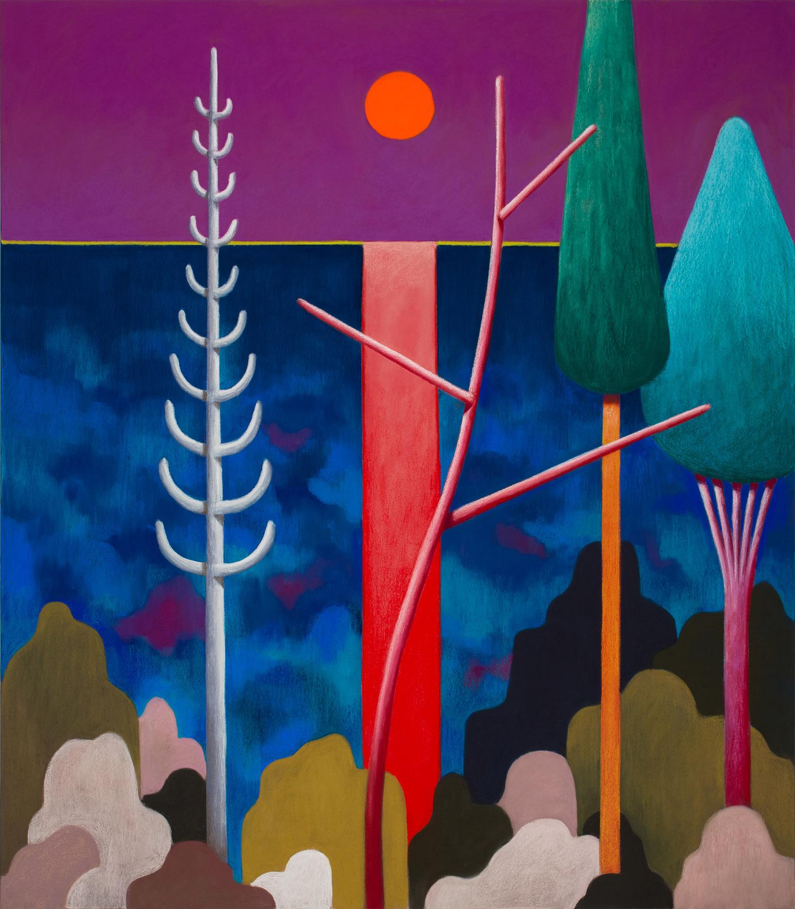 Nicolas Party Sunset, 2017  Gessetto su tela  50 x 130 cm Acquisto 2018