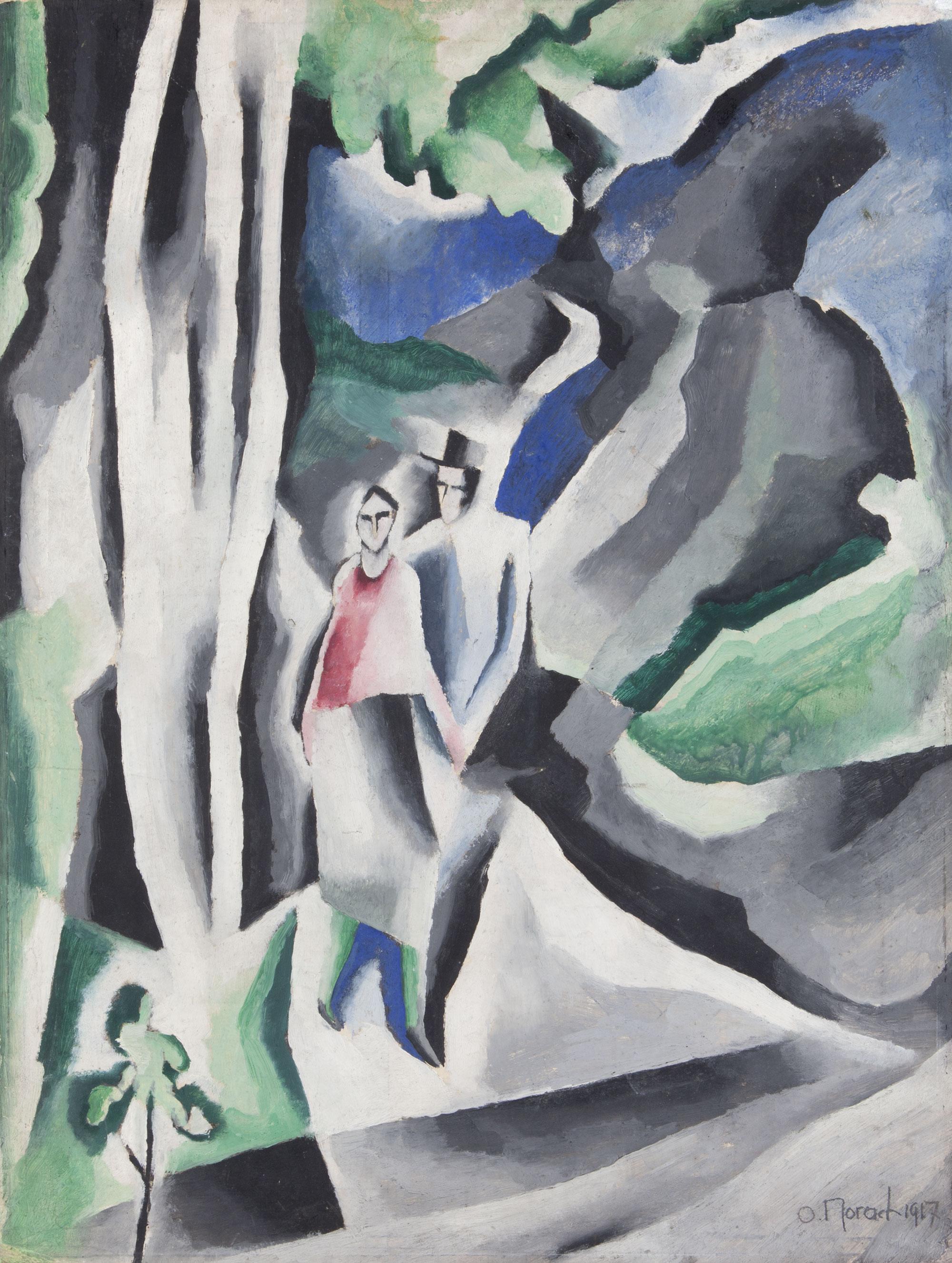 Otto Morach Der Spaziergang (La passeggiata), 1917 Olio su cartone 51 x 39 cm Acquisto 1994