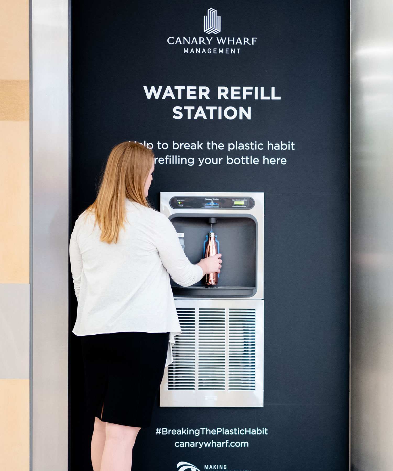 PROMOTING REUSE - We want using refillable water bottles to become the new norm for our visitors at Canary Wharf, however, we understand this can be problematic while on the go. To help, in September 2018 we installed seven refill stations across the Estate, giving you access to water on the go across our malls.