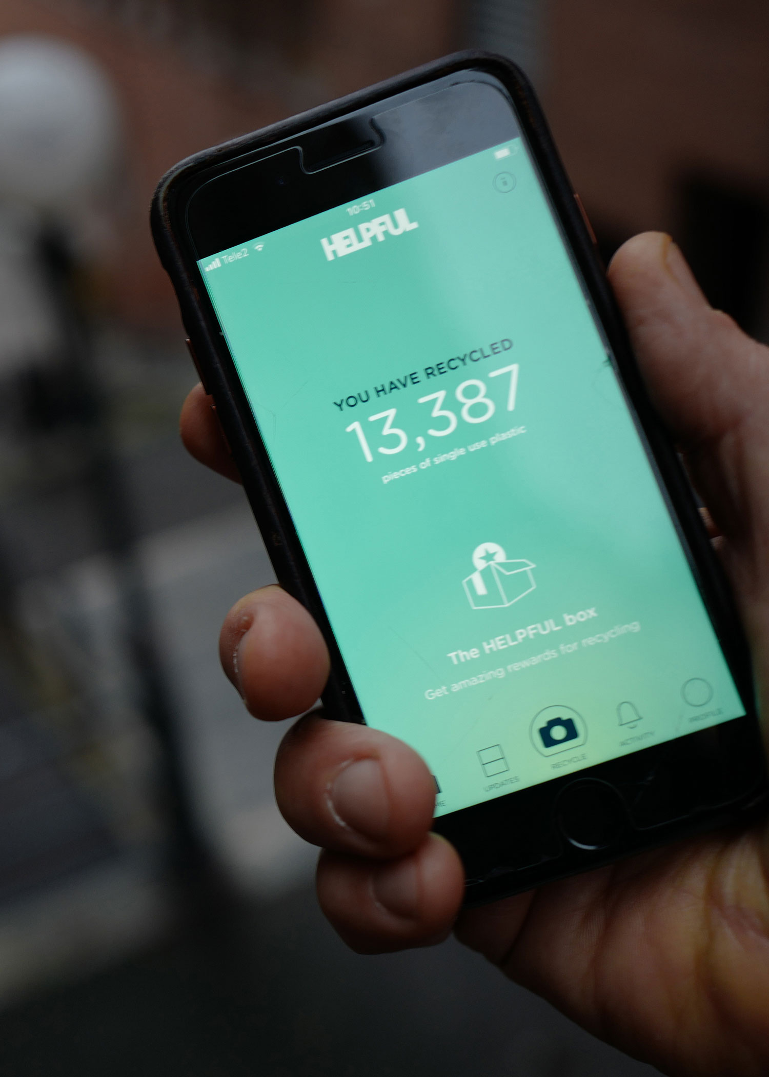 REWARDING REUSE - To incentivise a culture or reuse we have partnered with HELPFUL, a London based tech start-up that has designed a reward app to encourage people to live a plastic-free life.Users collect coins each time they use their reusable cup, bottle, cutlery and bags at Canary Wharf which can be redeemed and spent in partner stores.The app also identifies plastic bottles and coffee cups and guides the user how to recycle it. All waste receptacles across the Estate have been tagged so when a user scans a product the app directs them there to ensure it's been recycled properly.