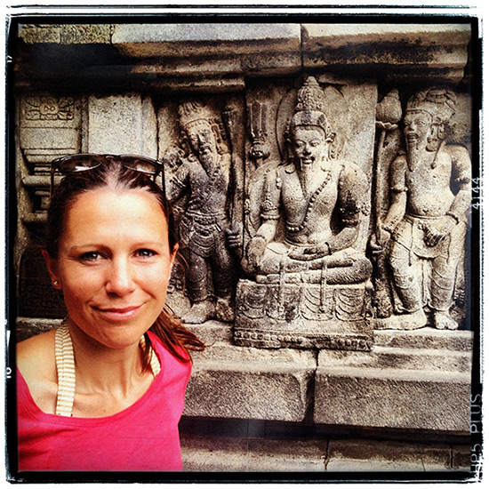 Katie, founder, outside Prambanan Temple