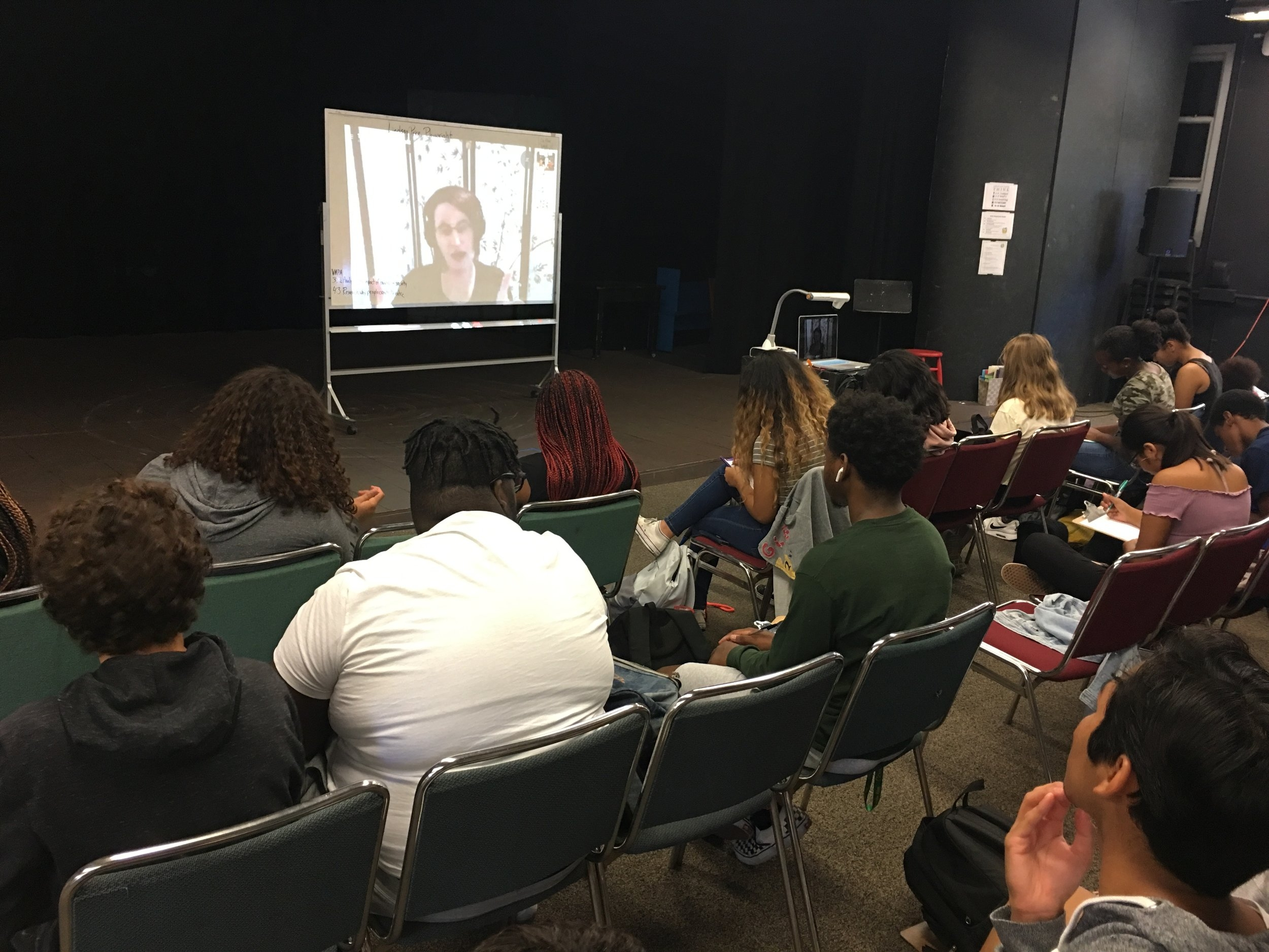 """Advanced"" class during Skype Interview with Playwright, Lindsay Price, who has written over 200 plays, including   darklight,   the play which IA students are currently rehearsing for our health department."
