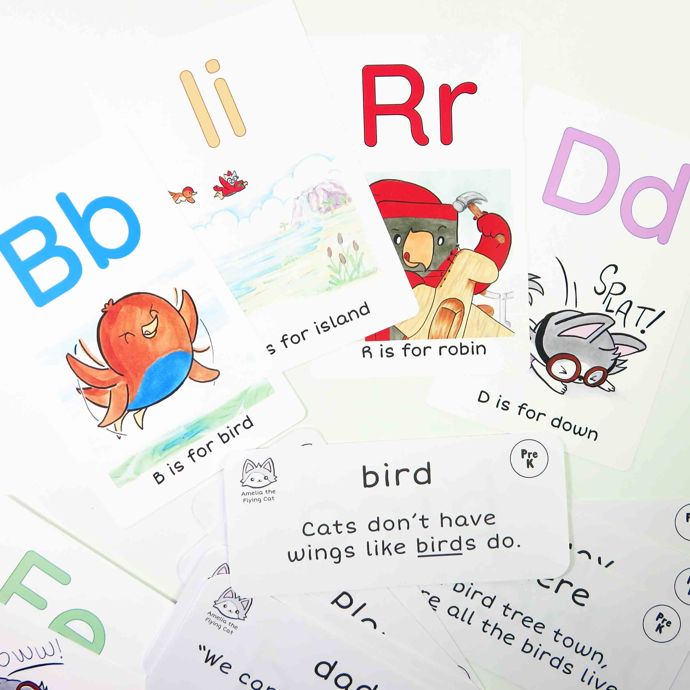 "Learn-to-Read Flash Cards   Learn the ABCs with Alphabet flash cards, or practice # Sight Words cards! Made to match the ""Amelia the Flying Cat."""