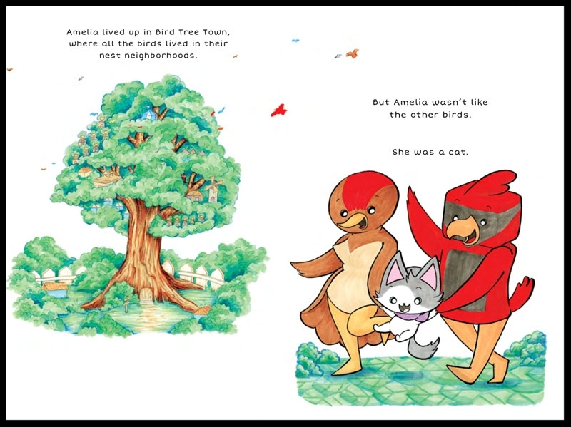 Page 1 & 2 of  Amelia the Flying Cat  children's book