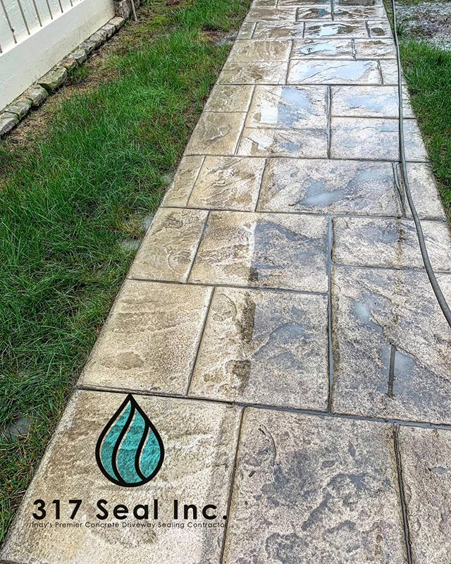 Clean vs. Dirty #stampedconcrete #beforeandafter #keepindianapolisbeautiful #pooldeck #indianapolis #concretecleaning #dirt #grime #pressurewashing #currentincarmel