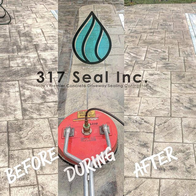 We were able to pressure wash away all of the old grime coating this pool deck, re-apply the original gray color of antique and accent for a more consistent and even appearance all around. Happy customer! #pool #concrete #washandseal #antiquecolor #butterfieldcolors #pressurewash #carmel #indianapolis #contractor #317seal
