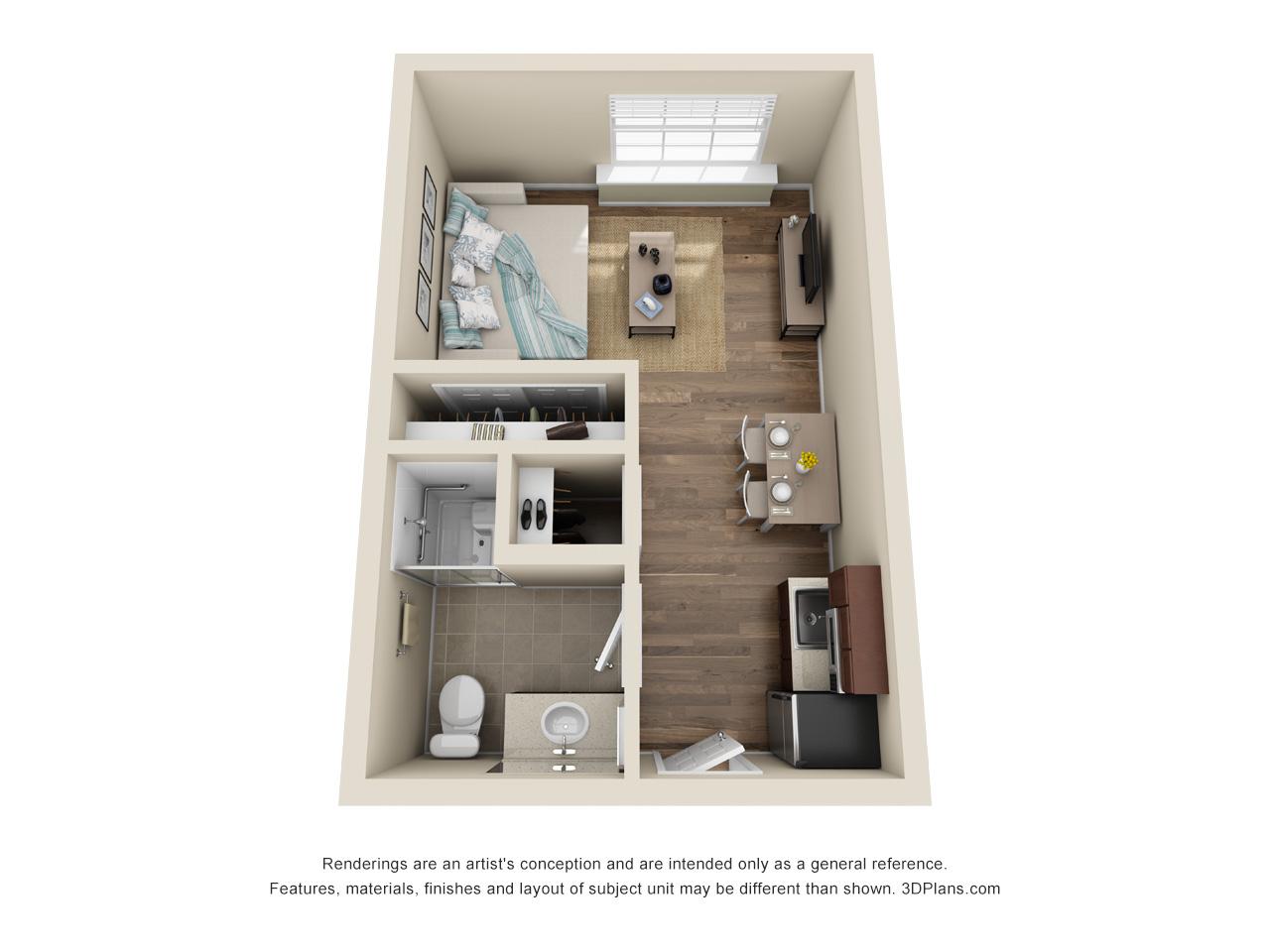 The Brook   Studio   1 Bathroom   334 SF