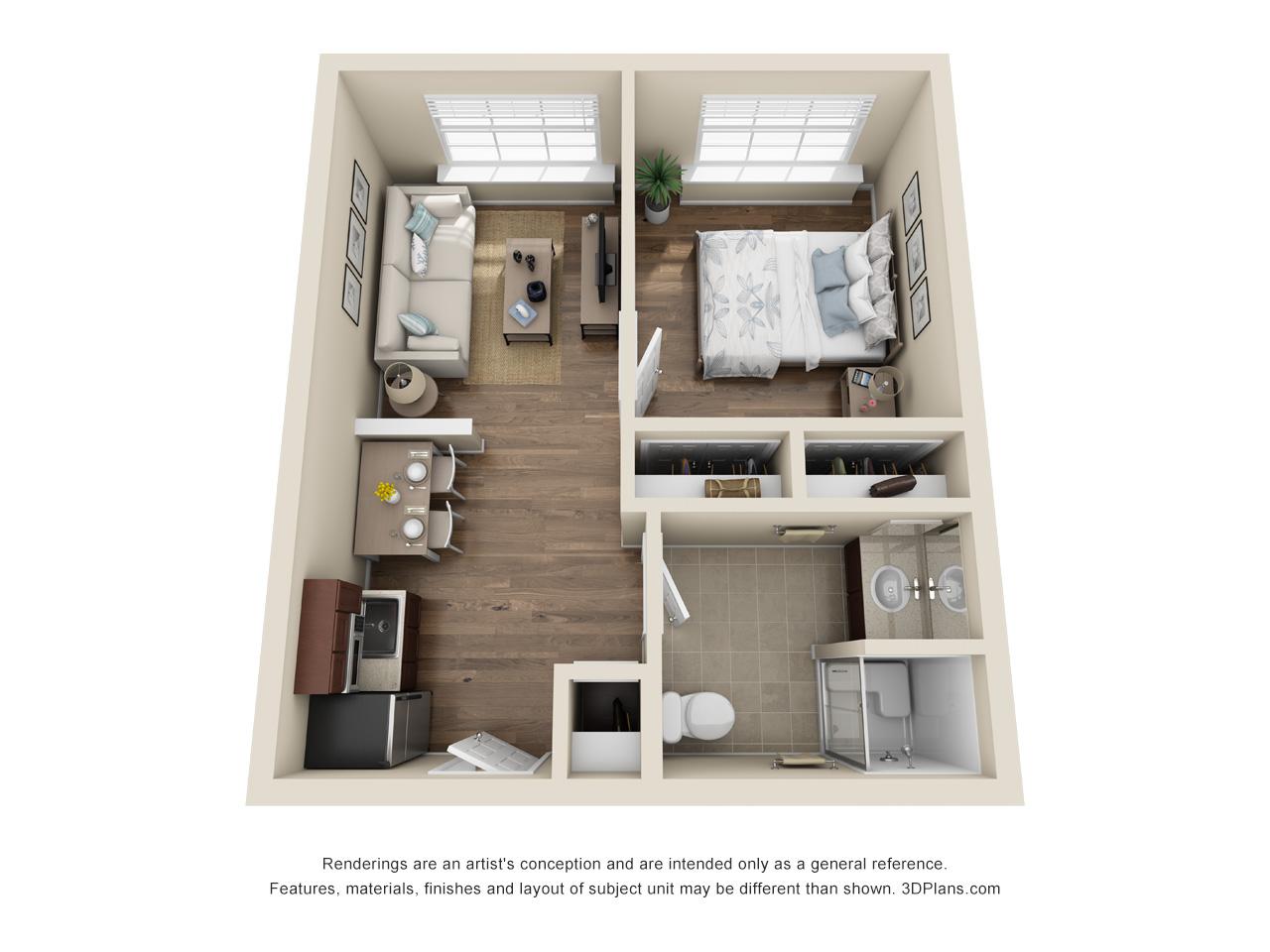 Delta   1 Bedroom   1 Bathroom   447 SF