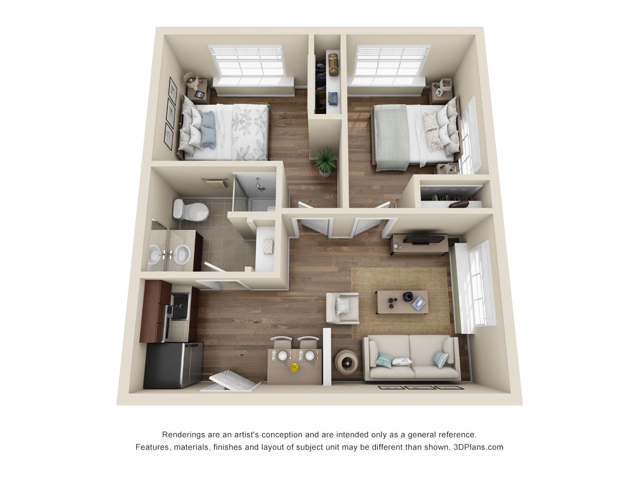 The Cascade   2 Bedroom   1 Bathroom   617 SF