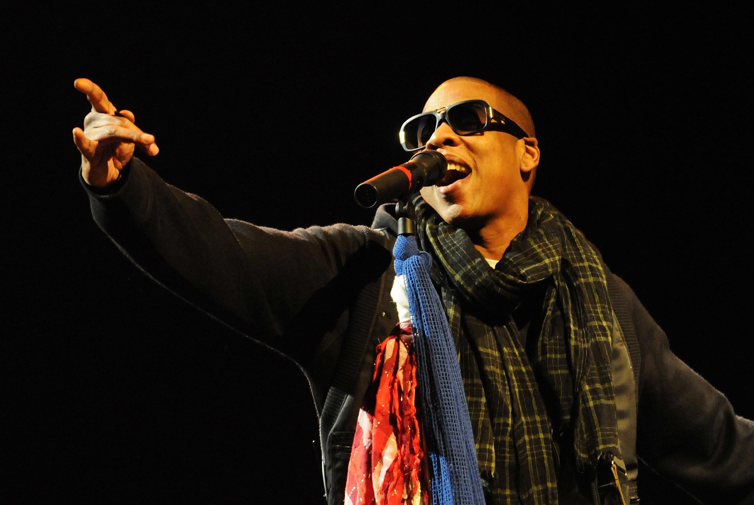 Jay-Z performing at Glastonbury. Photo by Jim Dyson