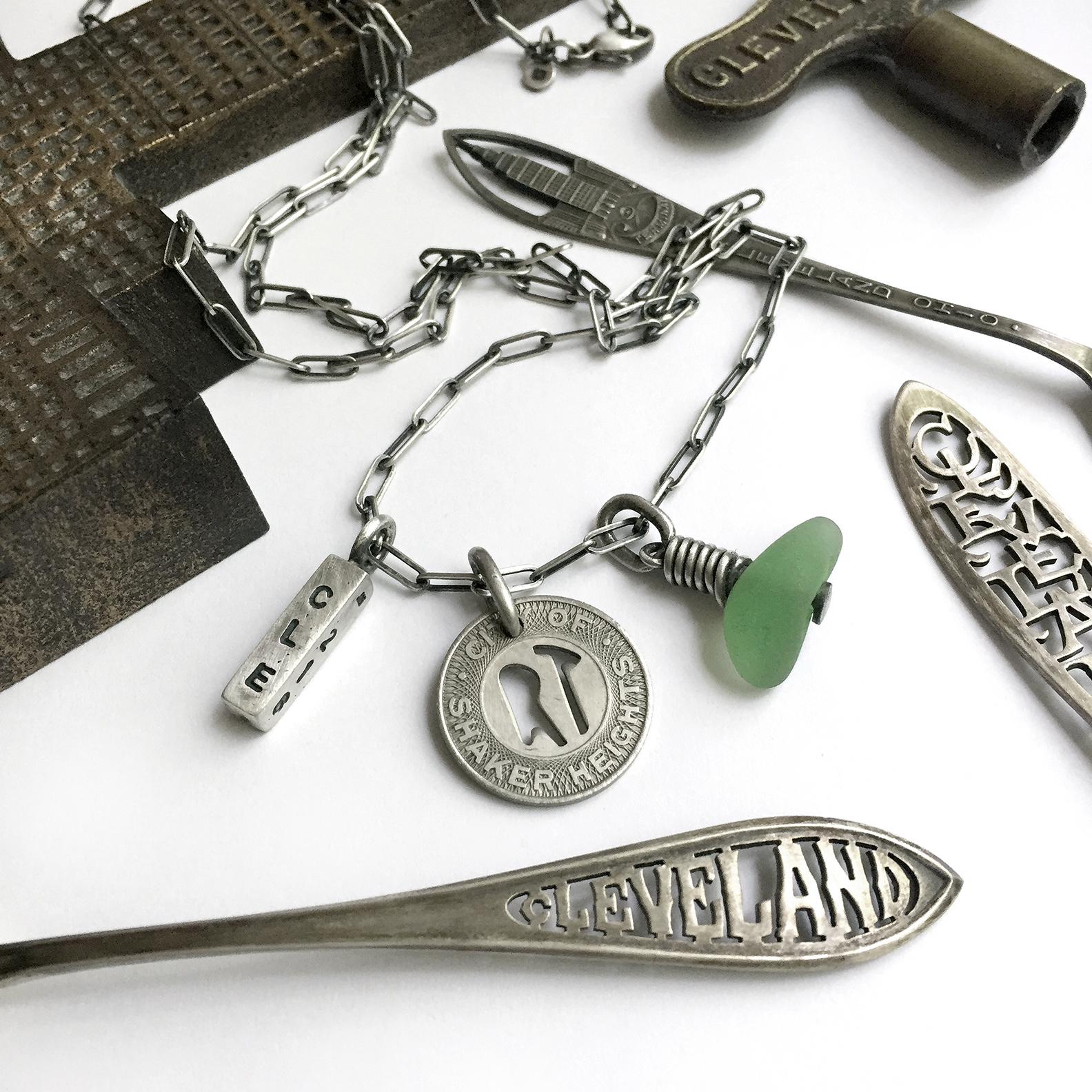 Cleveland CLE vintage rapid token necklace sterling silver
