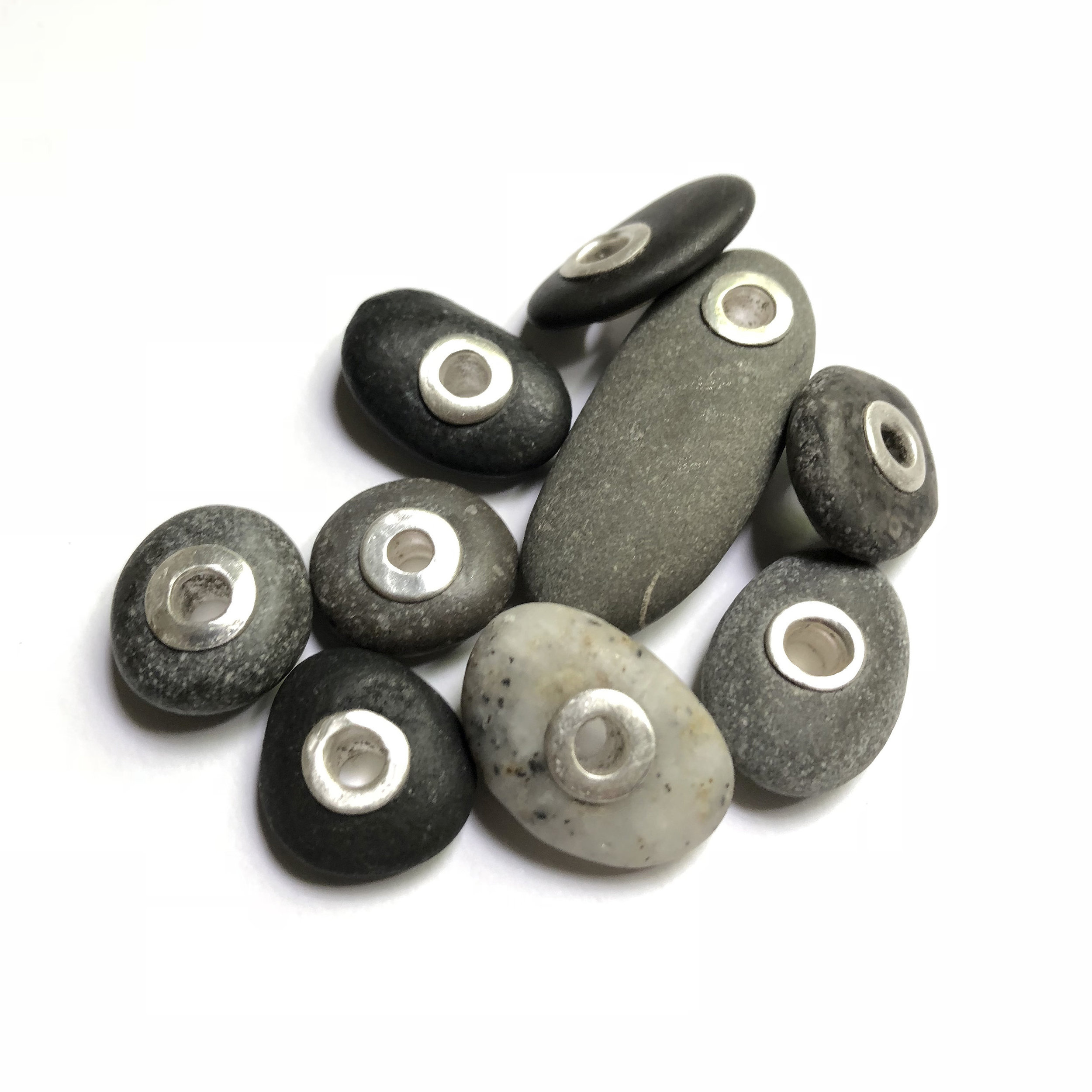 lake erie beach stones with sterling silver grommets