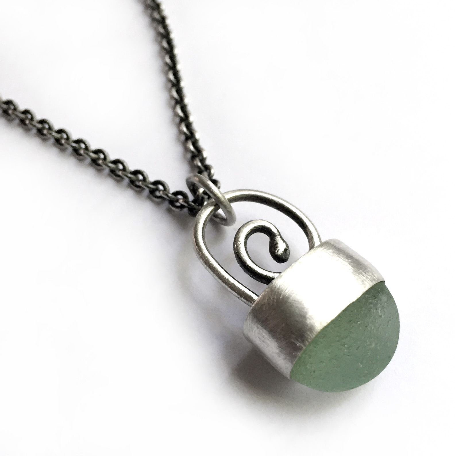 bezel set sterling silver seaglass necklace