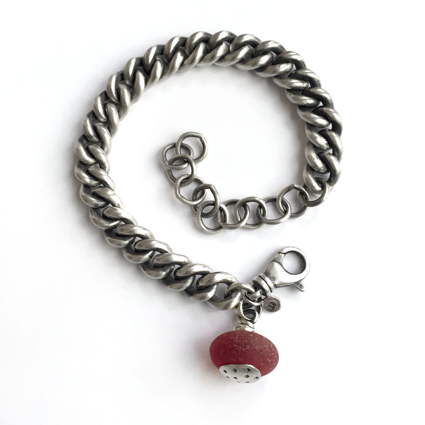 red sea glass vintage sterling silver curb chain bracelet