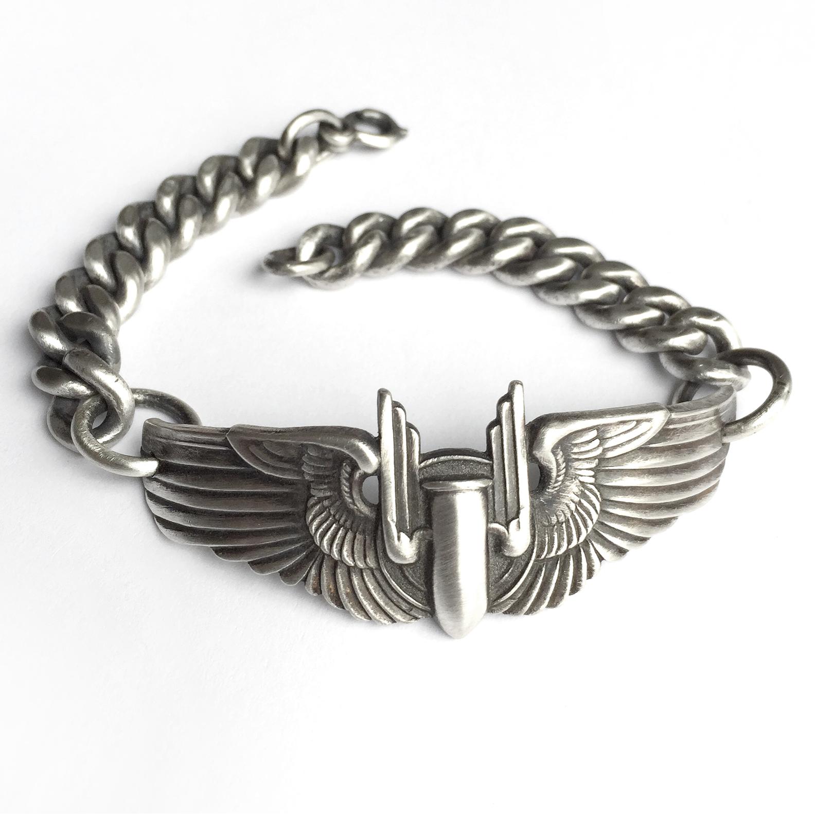 vintage army airforce world war 2 pilot wing bracelet