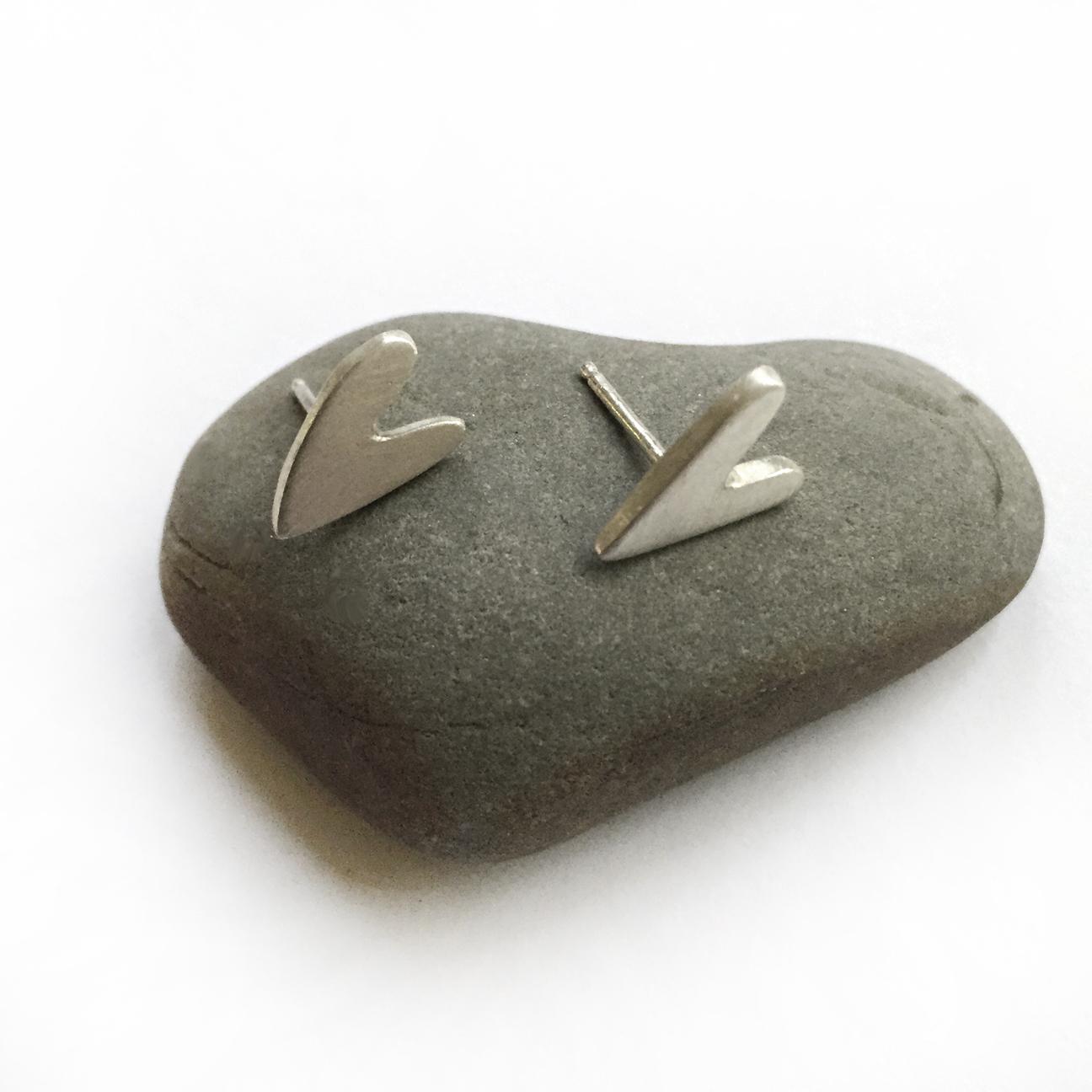 smal sterling silver hand cut heart post earrings
