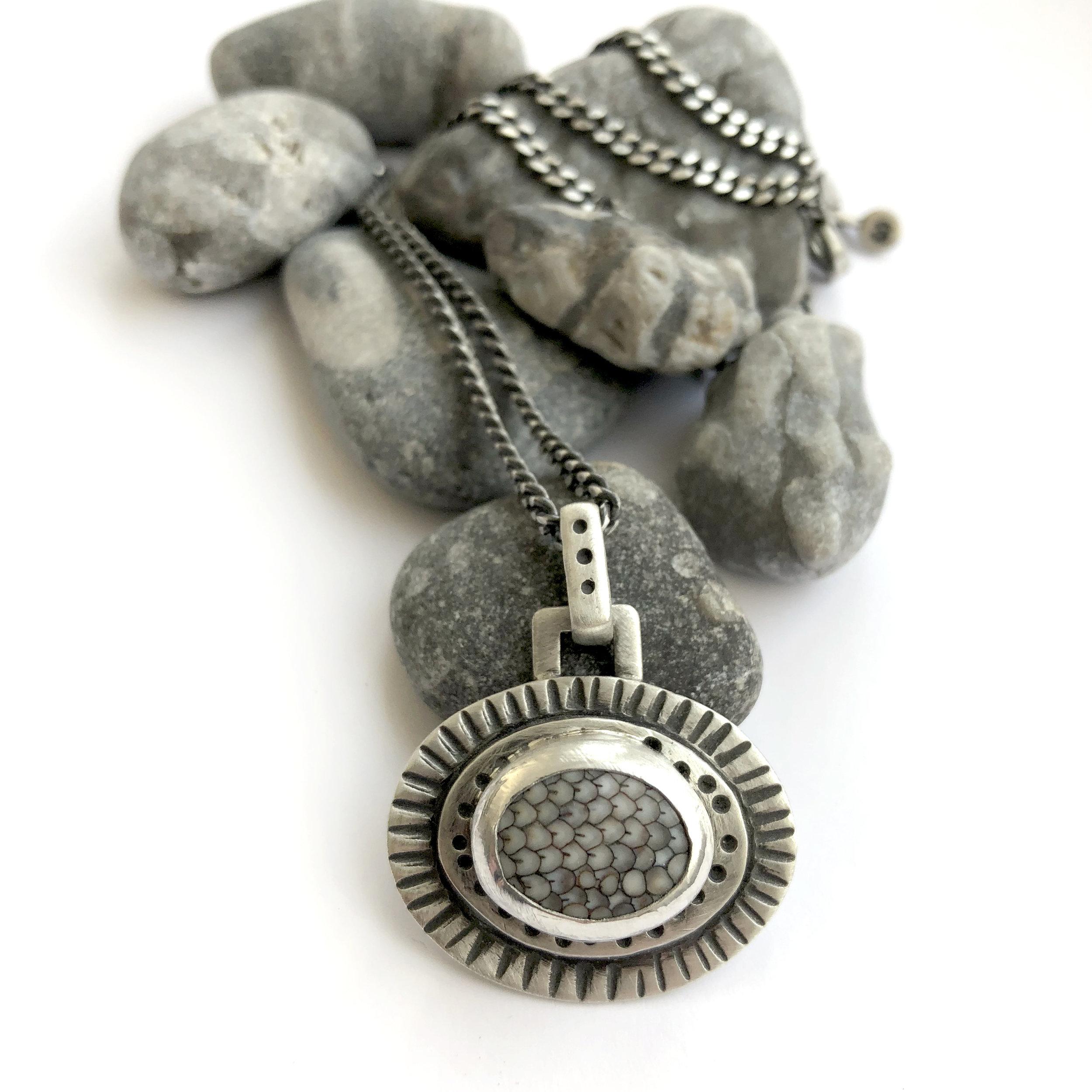 snakeskin stone bezel set sterling necklace