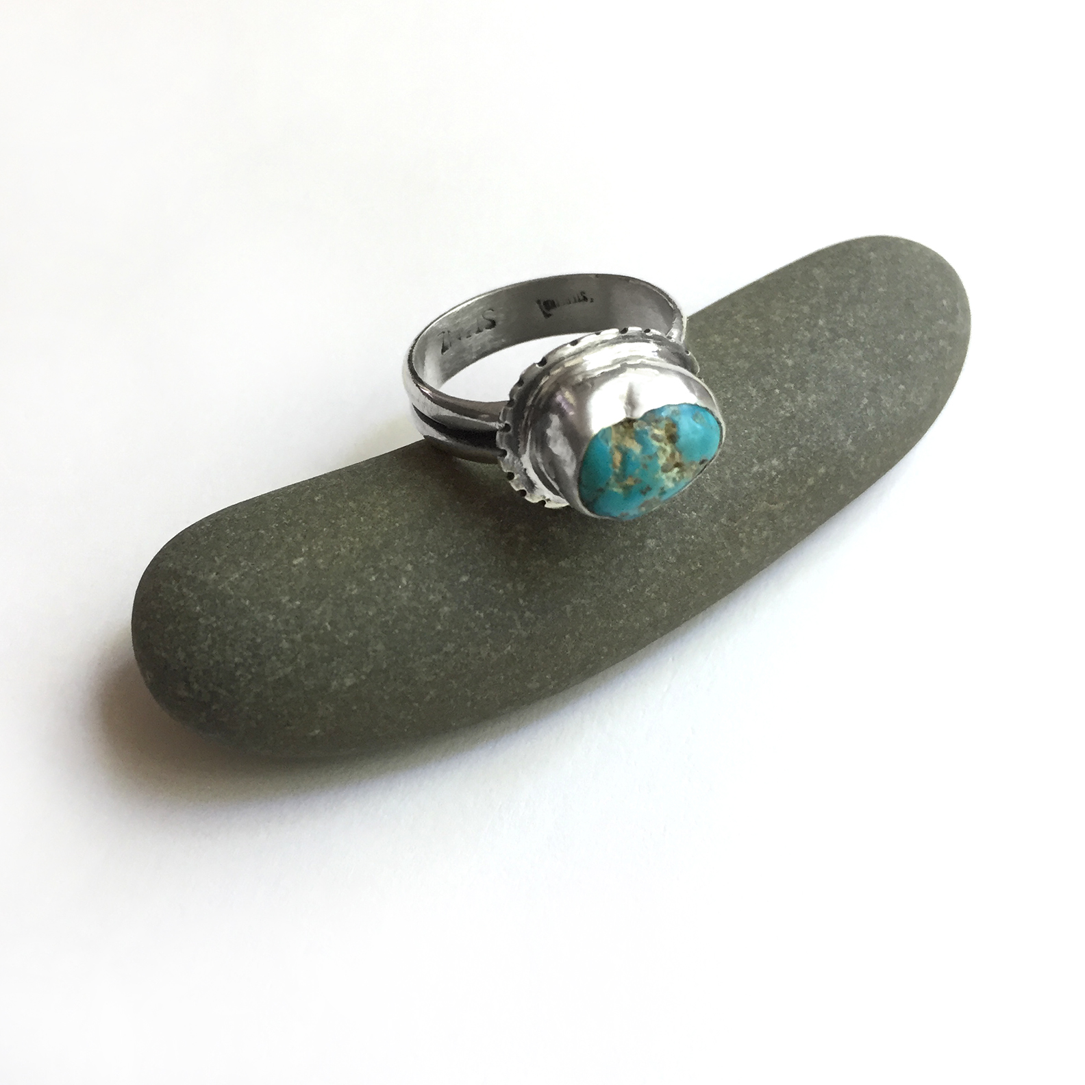 bezel set sterling silver turquoise ring