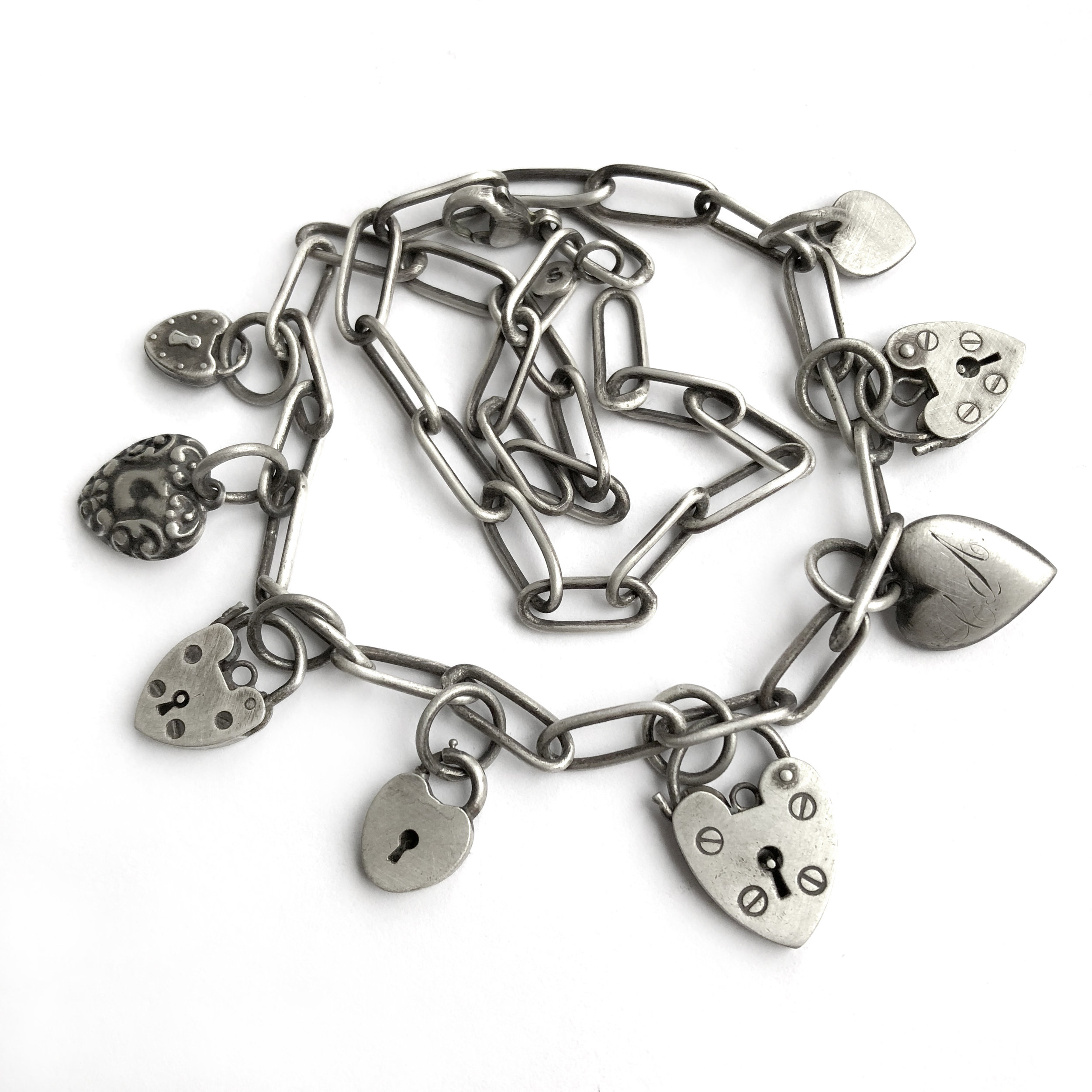 vintage heart charms sterling silver necklace