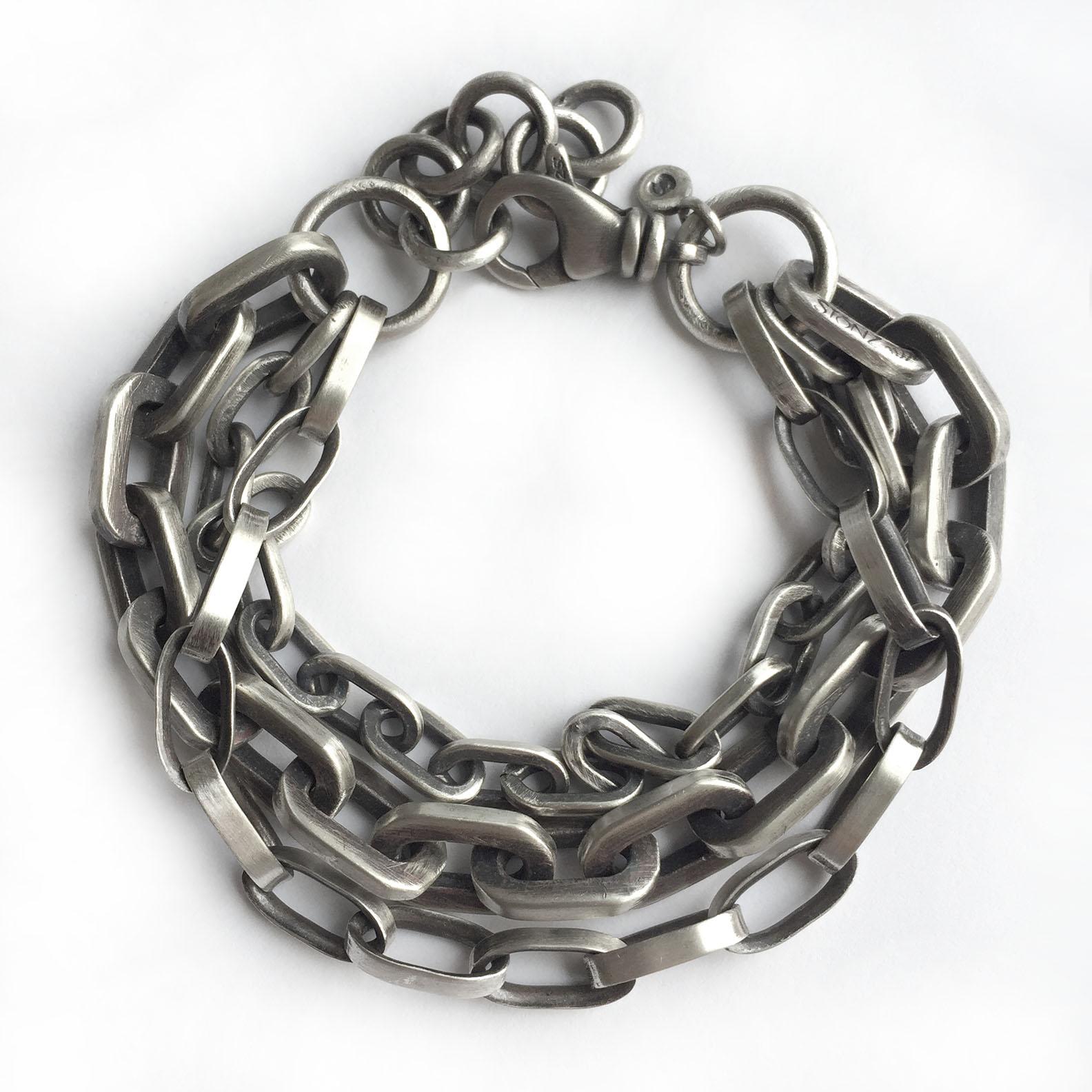 vintage sterling silver chains bracelet
