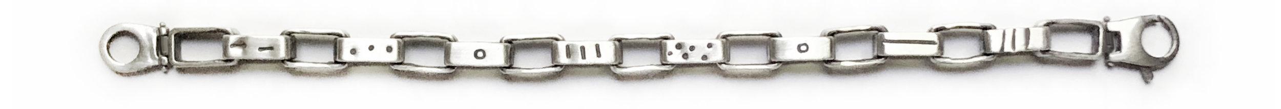 heavy box chain sterling silver dots lines tribal bracelet.JPG