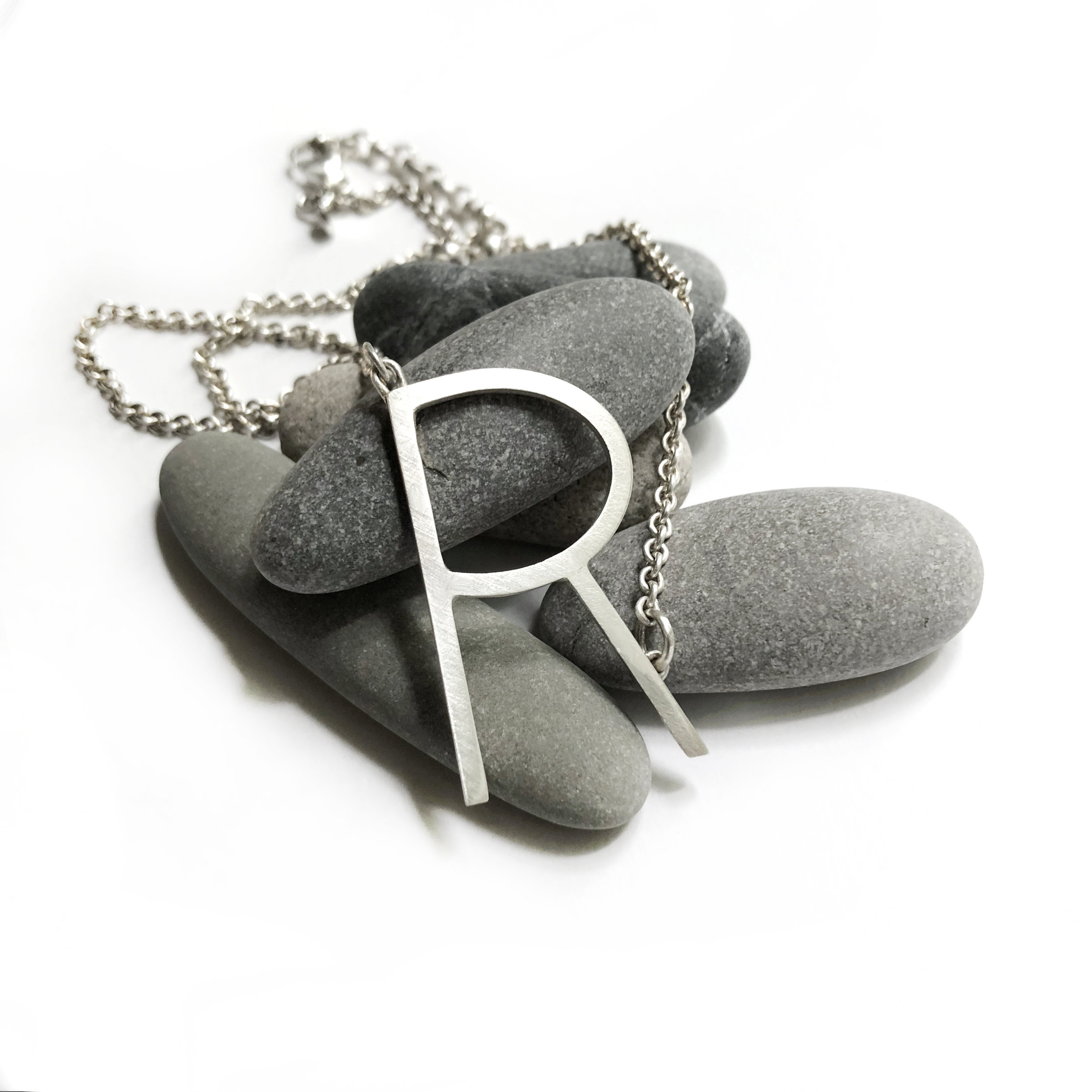 overside initial R necklace sterling silver