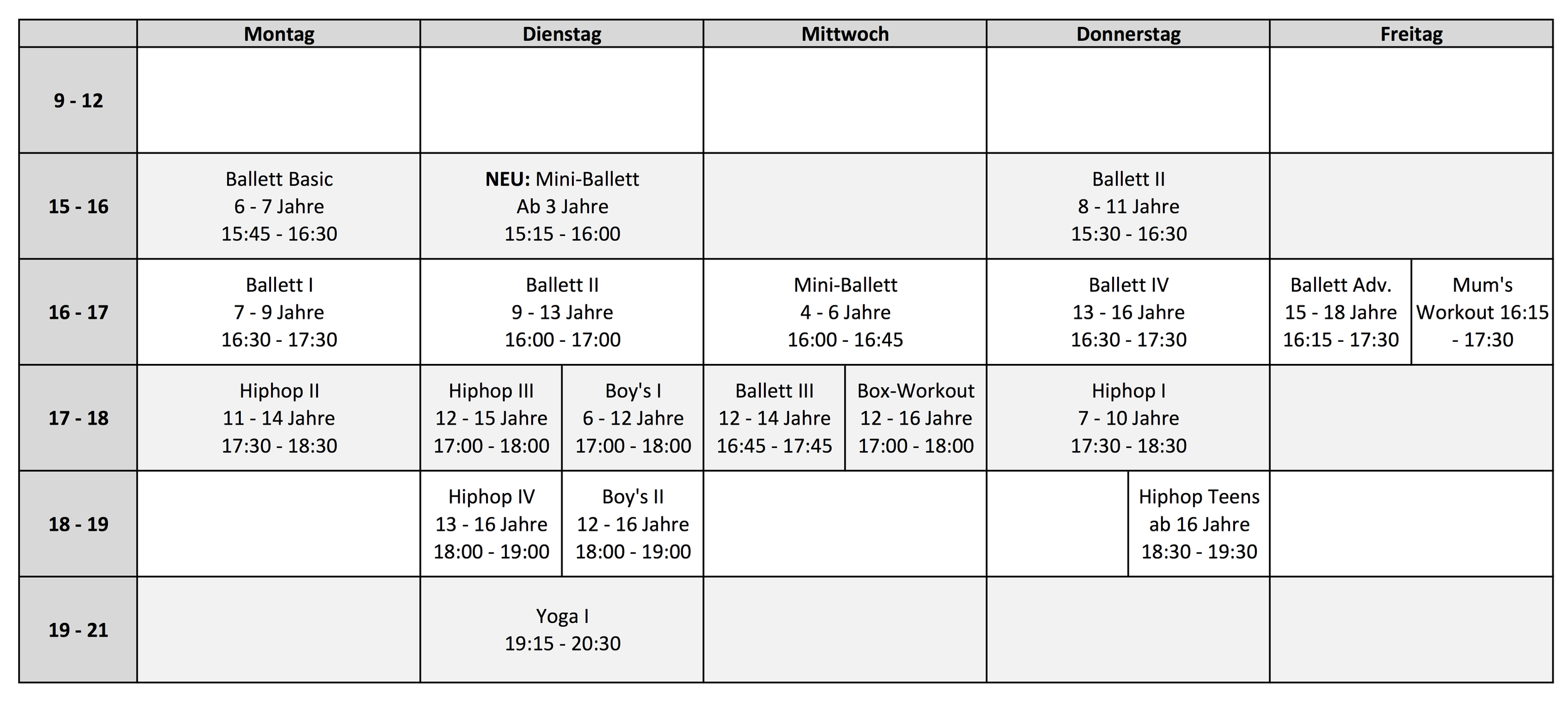 Class Schedule 2019 Cuatro-C Tanzstudio München | Dance Studio Munich