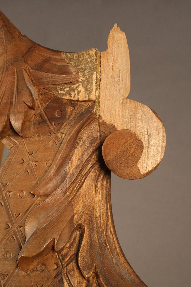 Damaged detail of fine wood carved antique frame