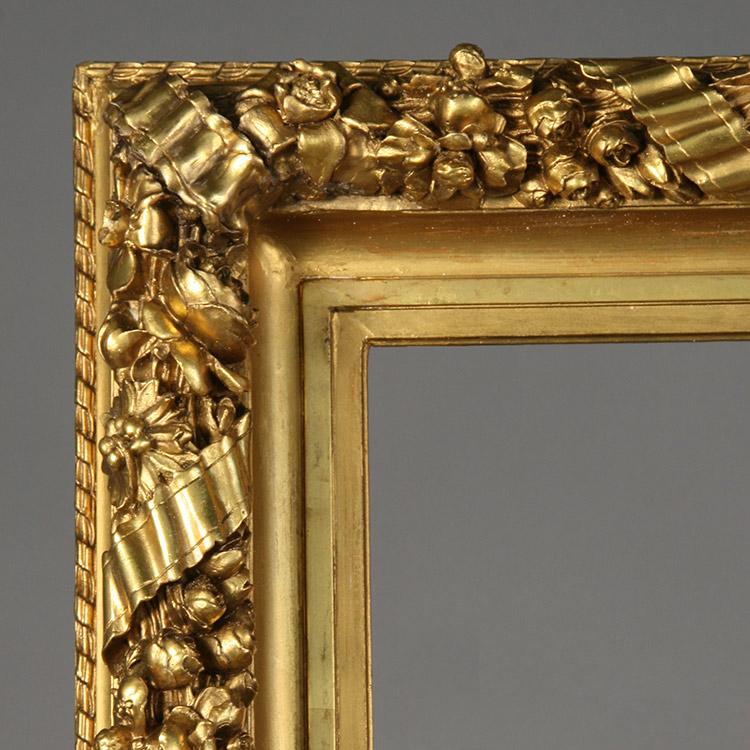 Restored portion of damaged gilded gesso