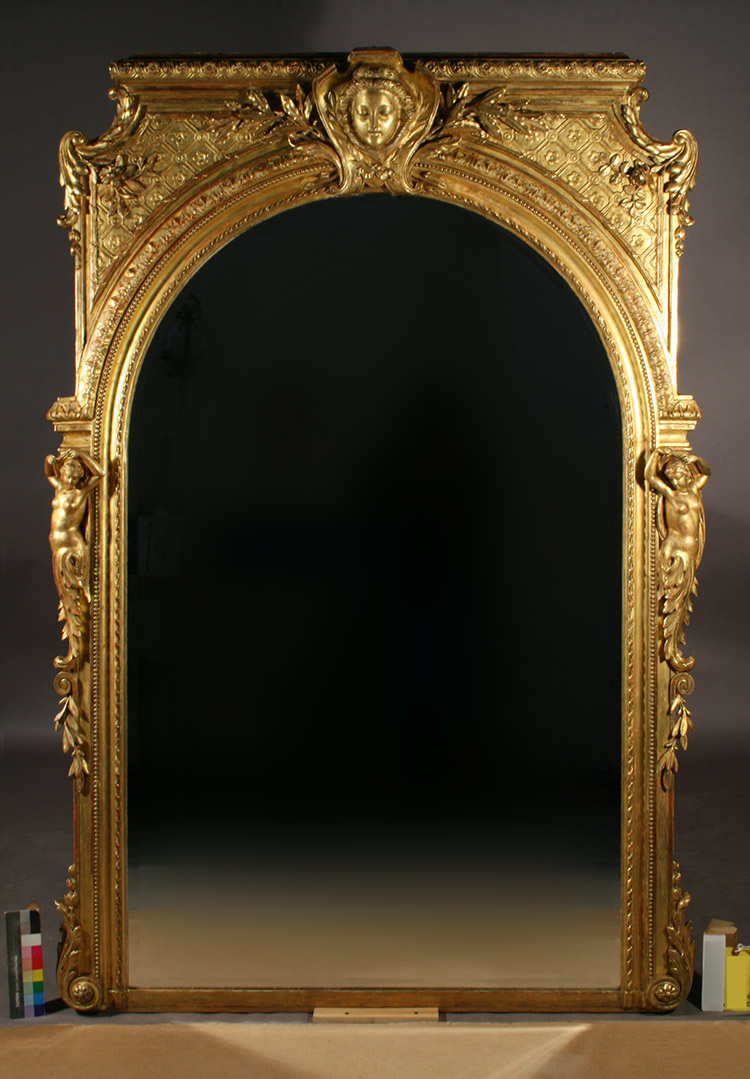 Mirror frame post-conservation with replacement mirror glass
